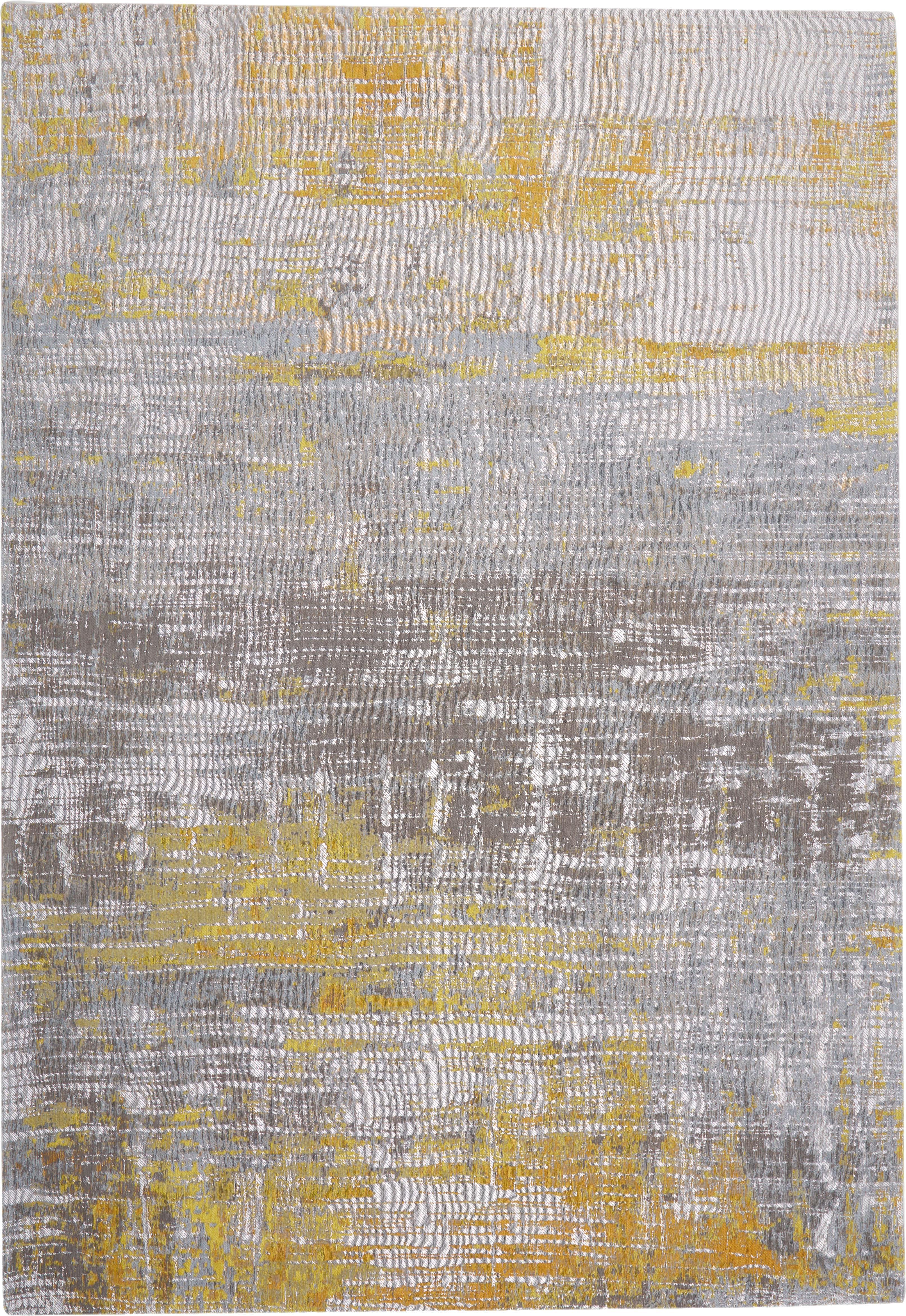 Design vloerkleed Streaks in grijs/geel, Bovenzijde: 85%katoen, 15%hoogglanz, Weeftechniek: jacquard, Onderzijde: katoenmix, gecoat met lat, Geel, grijs, wit, 170 x 240 cm
