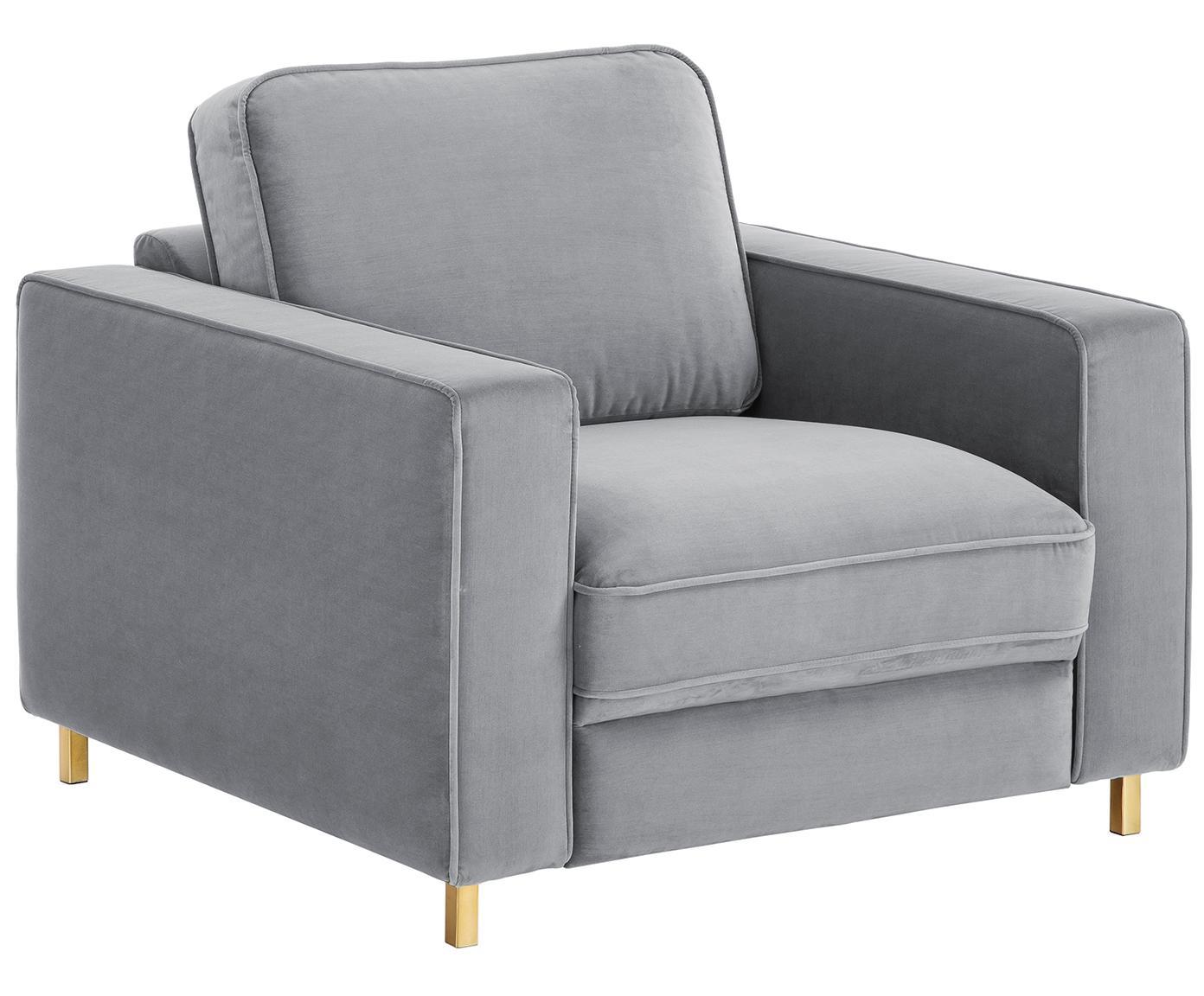 Fluwelen fauteuil Chelsea, Bekleding: fluweel (hoogwaardig poly, Frame: massief vurenhout, Poten: gecoat metaal, Grijs, B 83 x D 93 cm