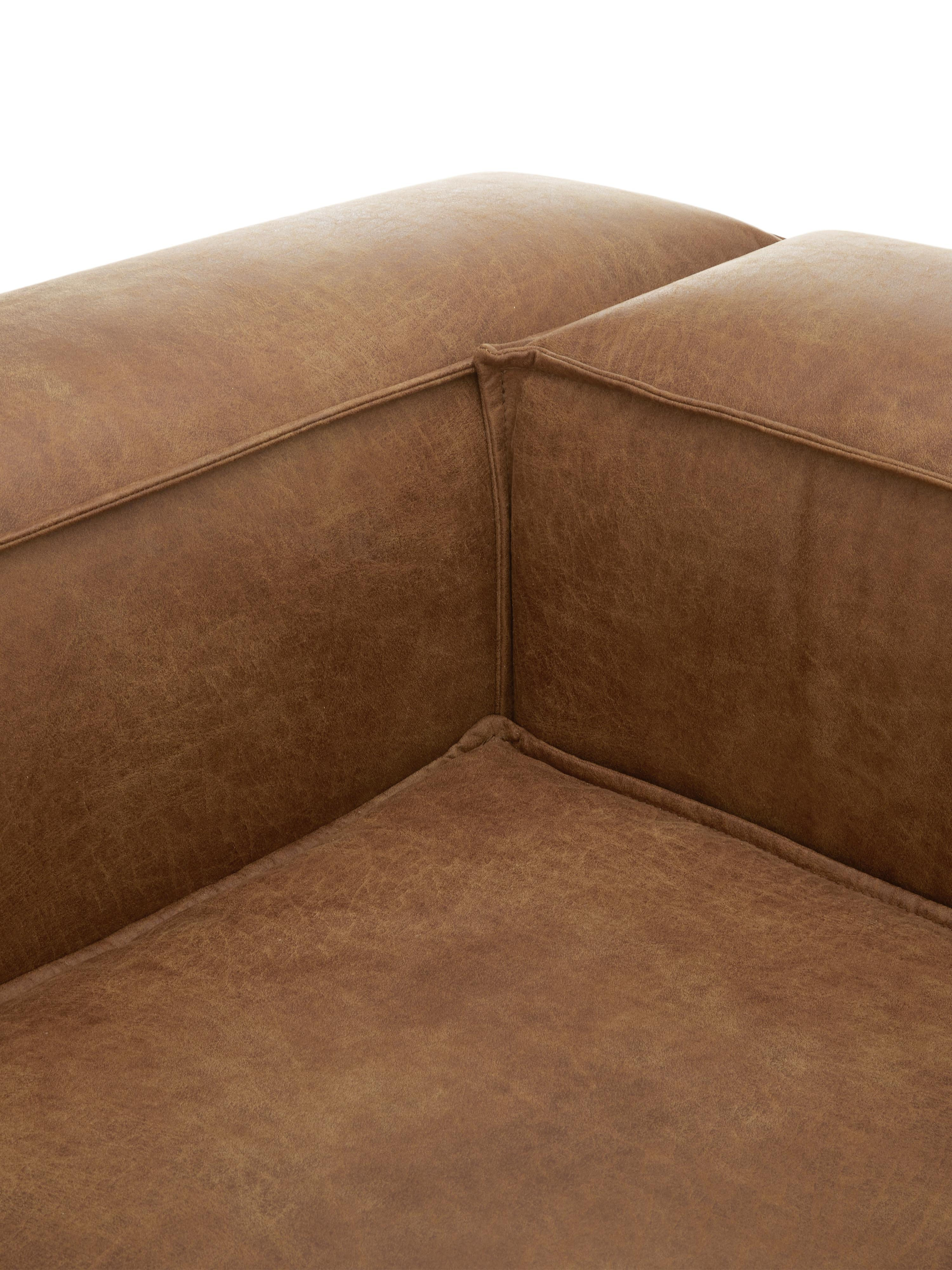 Diván modular de cuero XL Lennon, Tapizado: 70%cuero, 30%poliéster , Estructura: madera de pino maciza, ma, Patas: plástico, Marrón, An 357 x F 119 cm