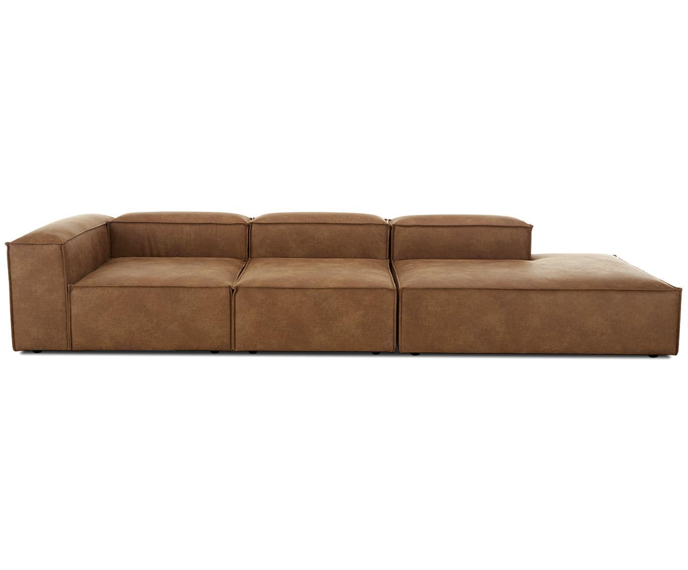 Modulaire leren XL chaise longue Lennon, Bekleding: 70% leer, 30% polyester, Frame: massief grenenhout, multi, Poten: kunststof, Bruin, B 357 x D 119 cm