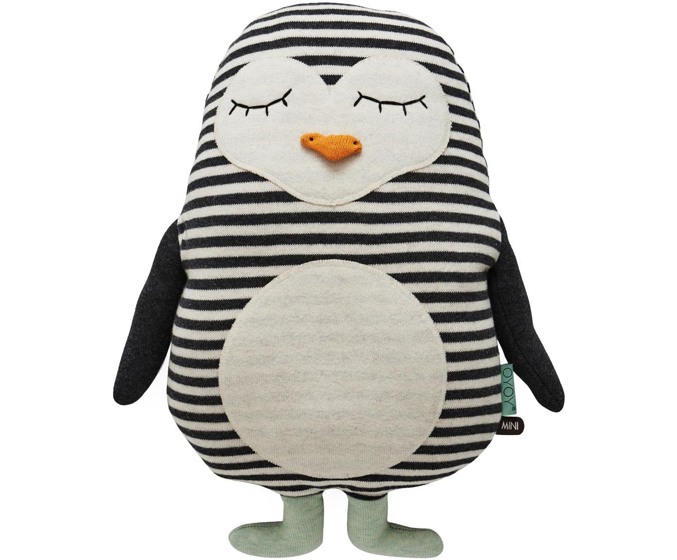 Peluche pinguino soffice Pingo, Cotone, Bianco latteo, nero, verde menta, arancione, Larg. 31 x Alt. 41 cm