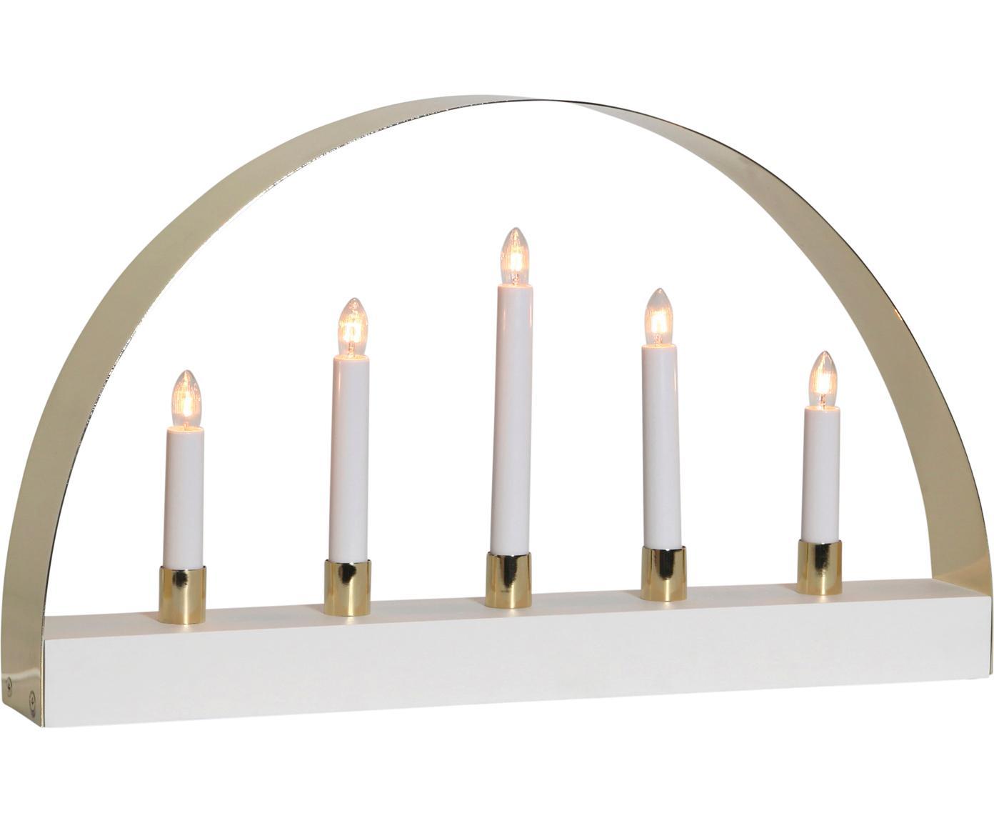 Objeto luminoso Noble, con enchufe, Cable: plástico, Blanco, dorado, An 47 x Al 28 cm