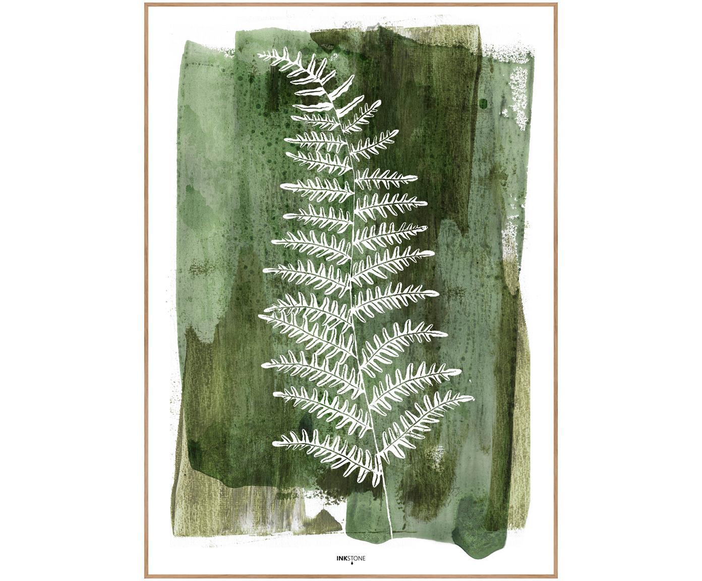 Oprawiony druk cyfrowy White Fern, Zielony, biały, S 30 x W 40 cm