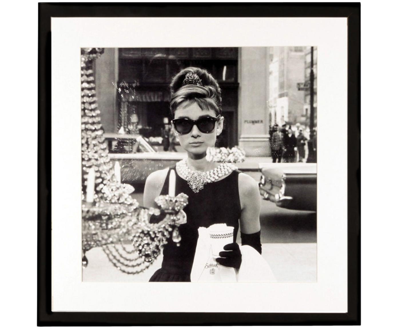 Gerahmter Digitaldruck Hepburn, Bild: Matho Litho Papier, Rahmen: Kunststoffrahmen mit Glas, Schwarz, Weiß, 40 x 40 cm