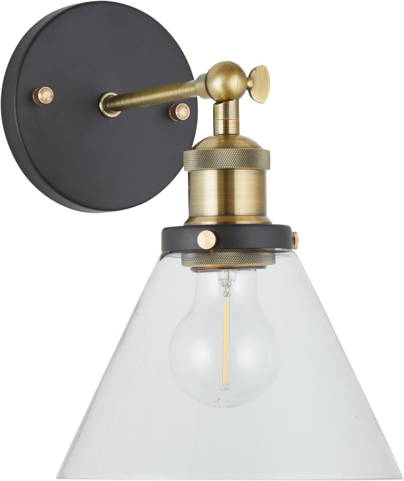 Wandleuchte New York Loft No.1, Baldachin: Metall, pulverbeschichtet, Lampenschirm: Glas, Schwarz, Messing, Transparent, 19 x 29 cm