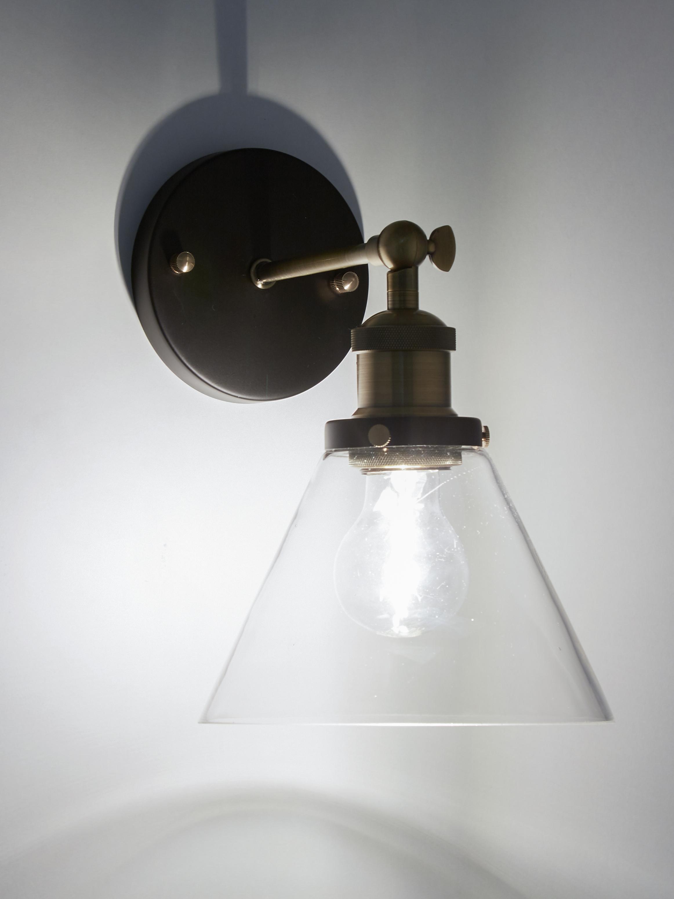 Nástěnné svítidlo New York Loft No.1, Černá, mosazná, transparentní