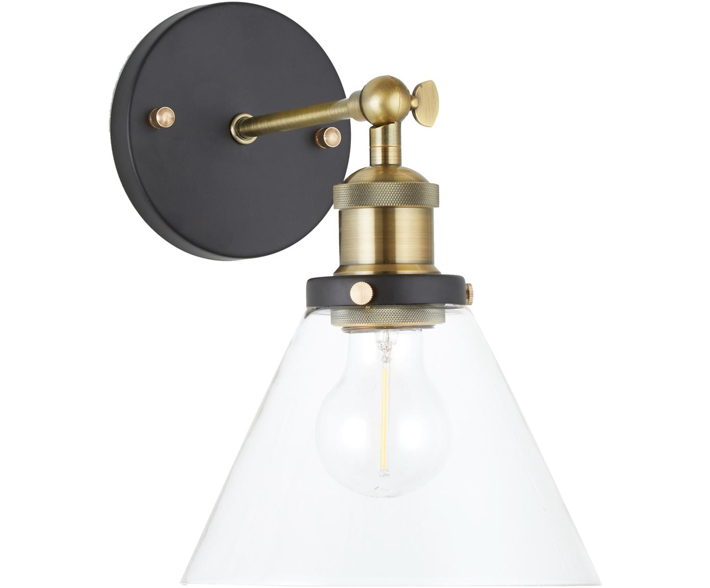 Wandlamp New York Loft No.1, Baldakijn: gepoedercoat metaal, Lampenkap: glas, Zwart, messingkleurig, transparant, B 19 cm