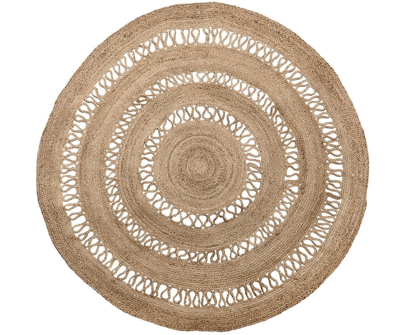 Runder Jute-Teppich Benita im Boho Style, Jute, Ø 182 cm (Grösse L)