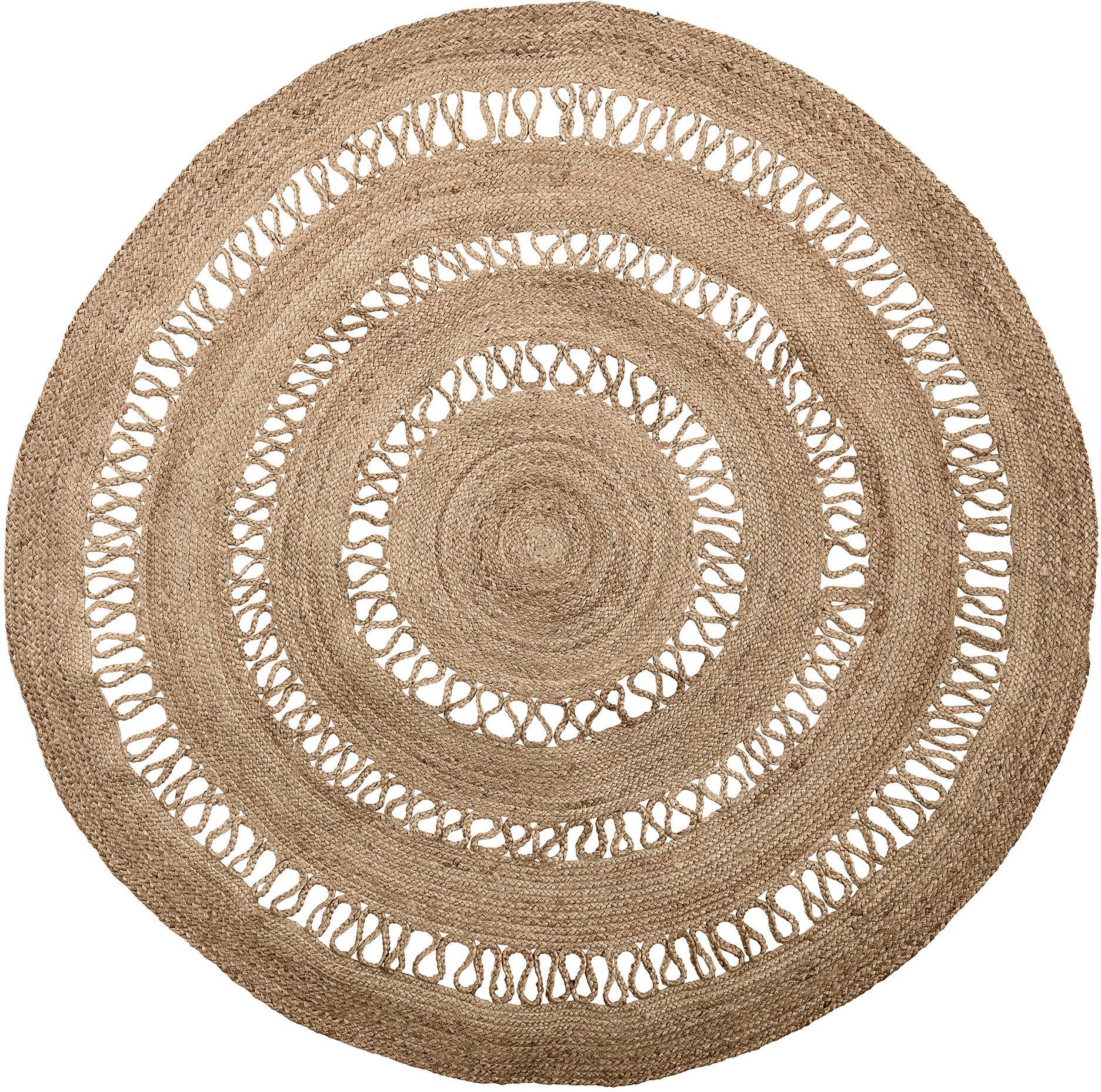 Rond juten vloerkleed Benita in boho stijl, Jutekleurig, Ø 182 cm (maat L)