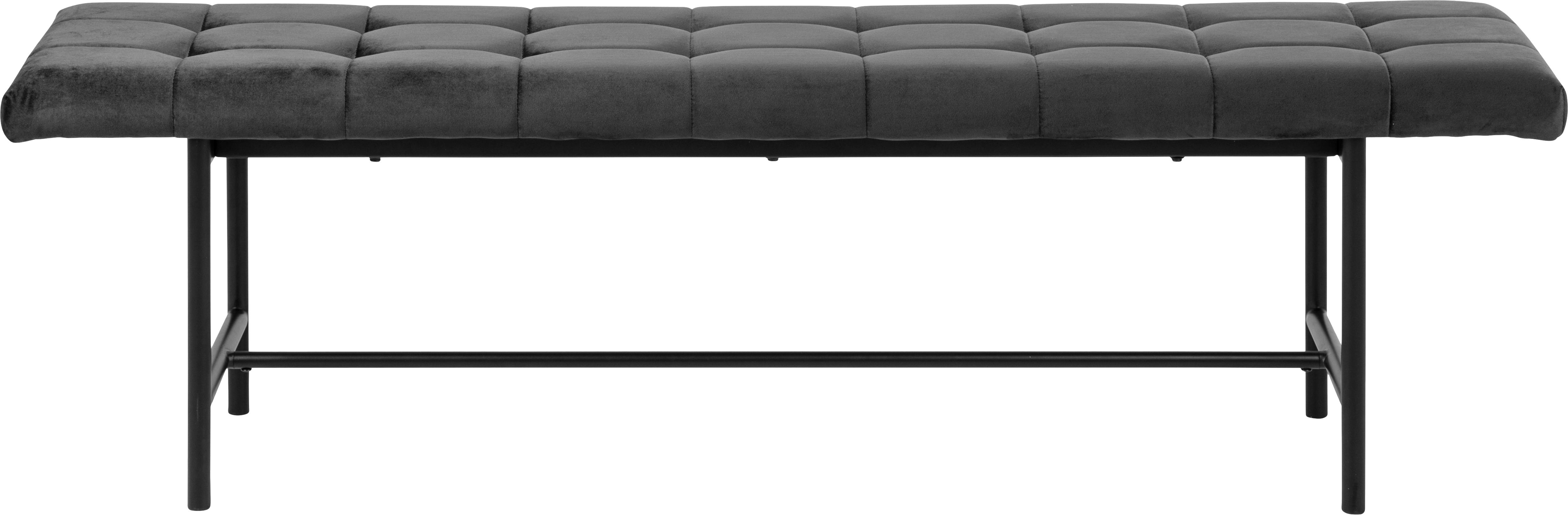 Design Samt-Polsterbank Sigfrid, Bezug: Polyestersamt 25.000 Sche, Beine: Metall, pulverbeschichtet, Dunkelgrau, Schwarz, 160 x 47 cm