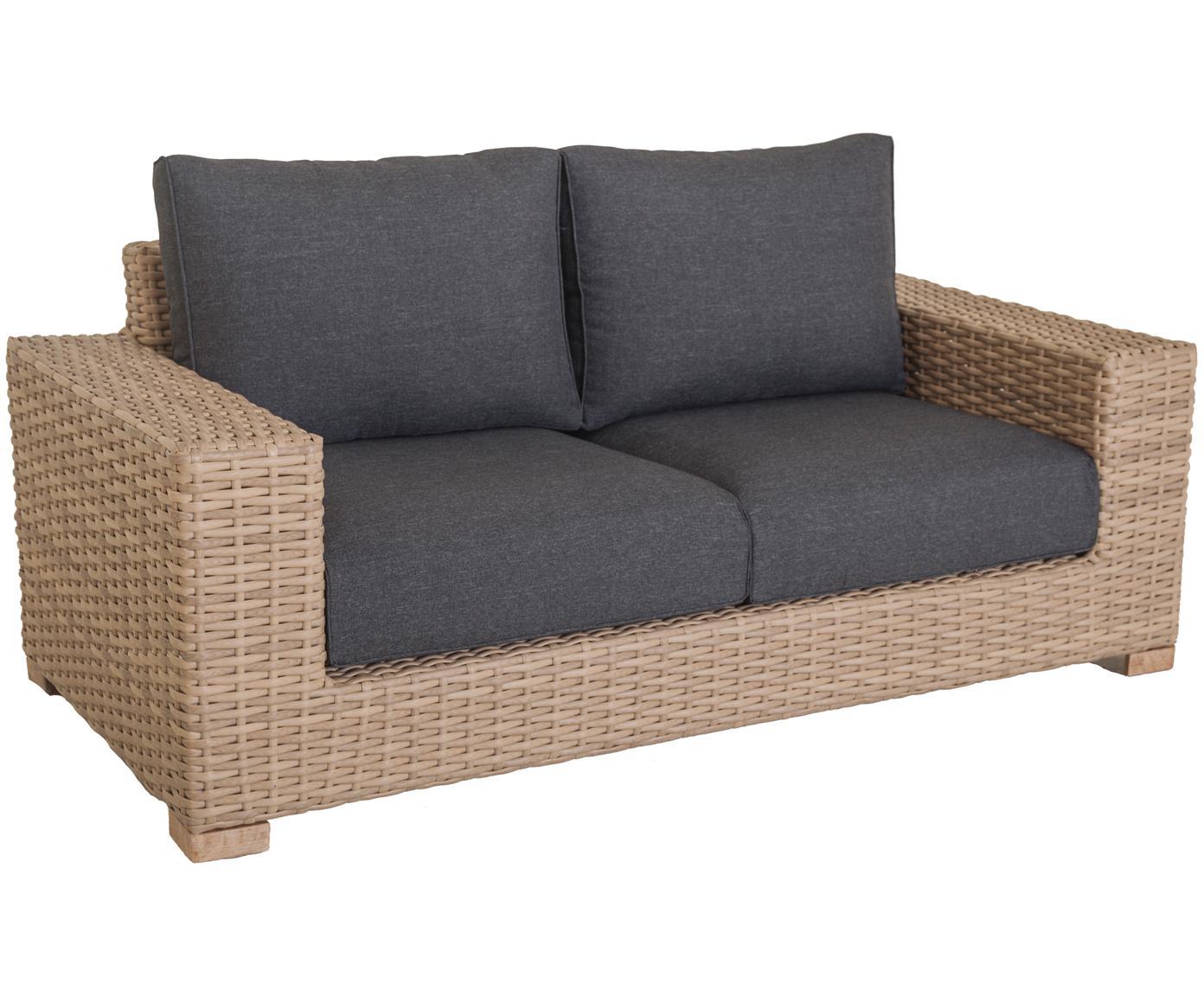 Garten-Loungesofa Saba aus Polyratten (2-Sitzer), Korpus: Polyrattan, UV-beständig, Gestell: Aluminium, Bezug: Polyester, UV-beständig u, Braun, B 180 x T 88 cm