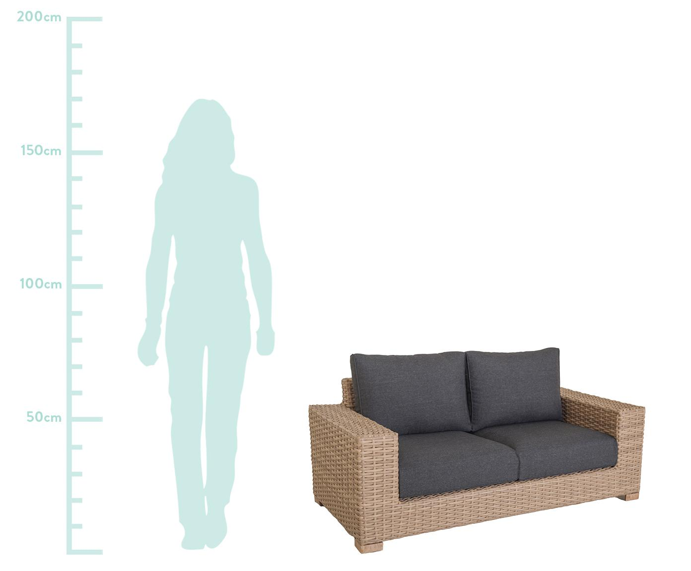 Garten-Loungesofa Saba aus Polyratten (2-Sitzer), Korpus: Polyrattan, UV-beständig, Füße: Akazienholz, massiv, Gestell: Aluminium, Bezug: Polyester, UV-beständig u, Braun, B 180 x T 88 cm