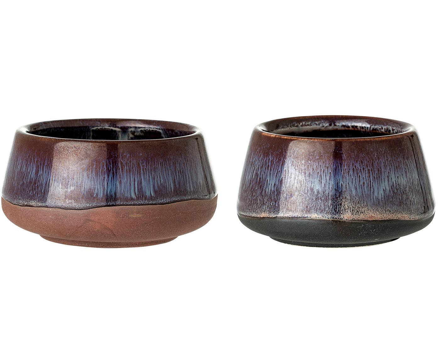 Handgefertigtes Teelichthalter-Set Nina, 2-tlg., Steingut, Burgund, Beige, Terrakotta, Sondergrößen