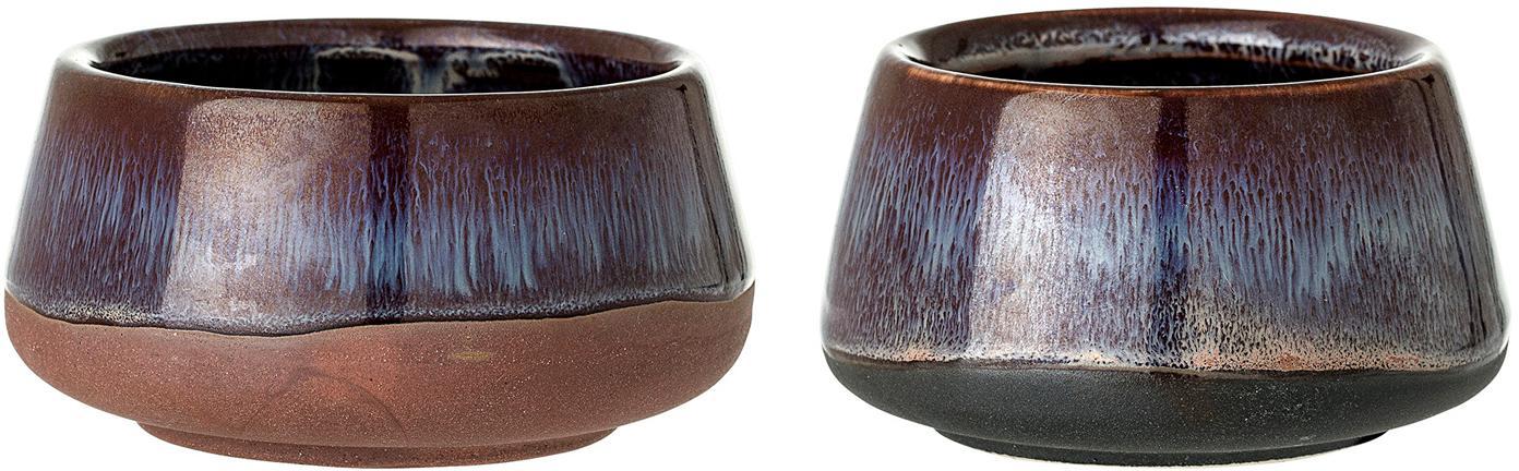Handgefertigtes Teelichthalter-Set Nina, 2-tlg., Steingut, Burgund, Beige, Terrakotta, Set mit verschiedenen Grössen