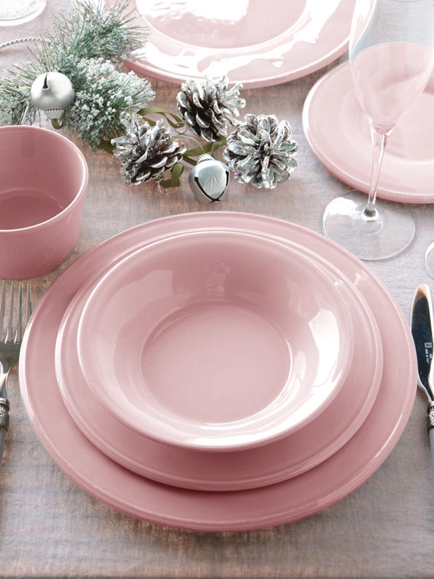 Dinerborden Constance, 2 stuks, Keramiek, Roze, Ø 29 cm