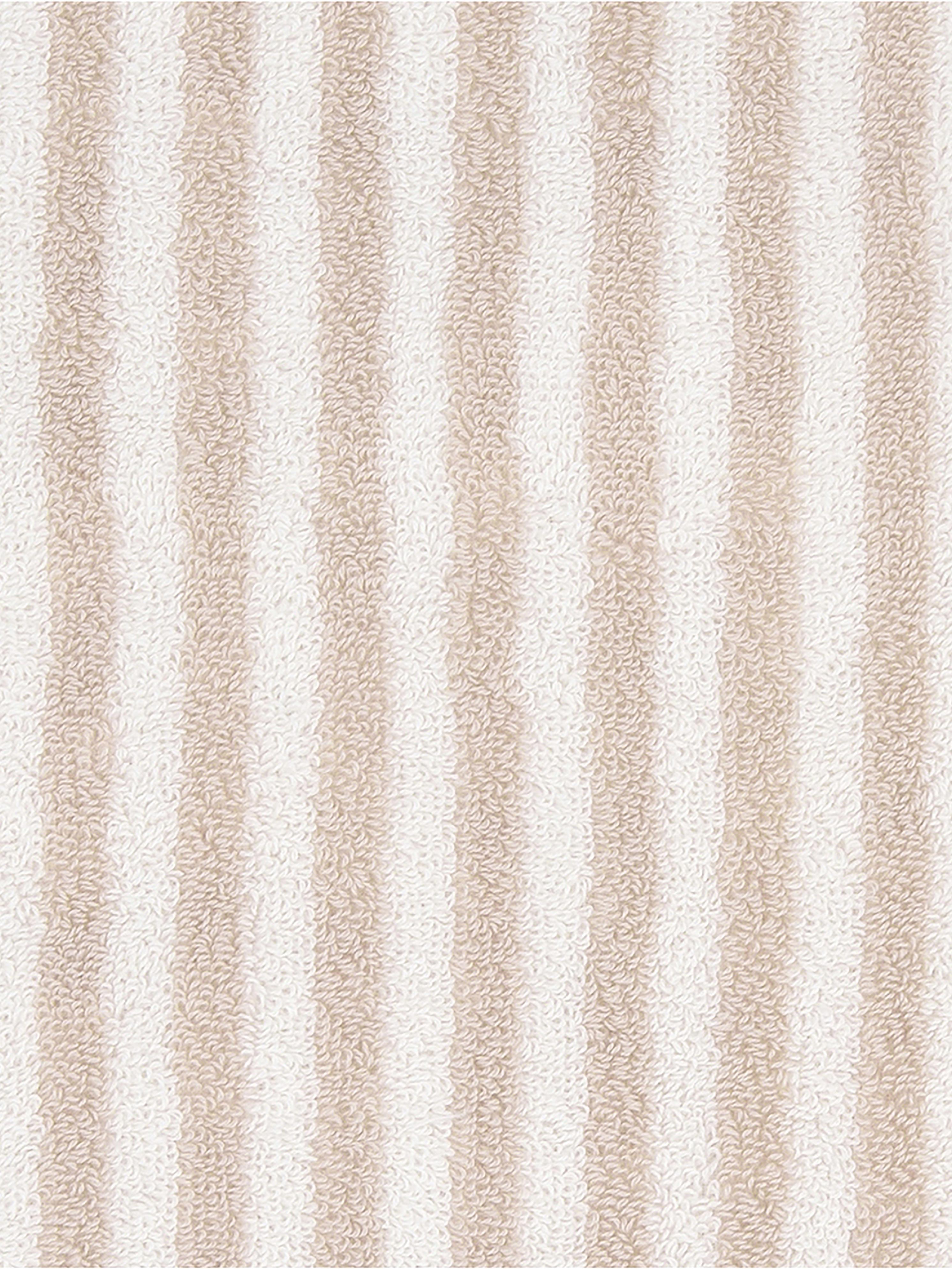 Gestreiftes Handtuch-Set Viola, 3-tlg., Sandfarben, Cremeweiß, Sondergrößen