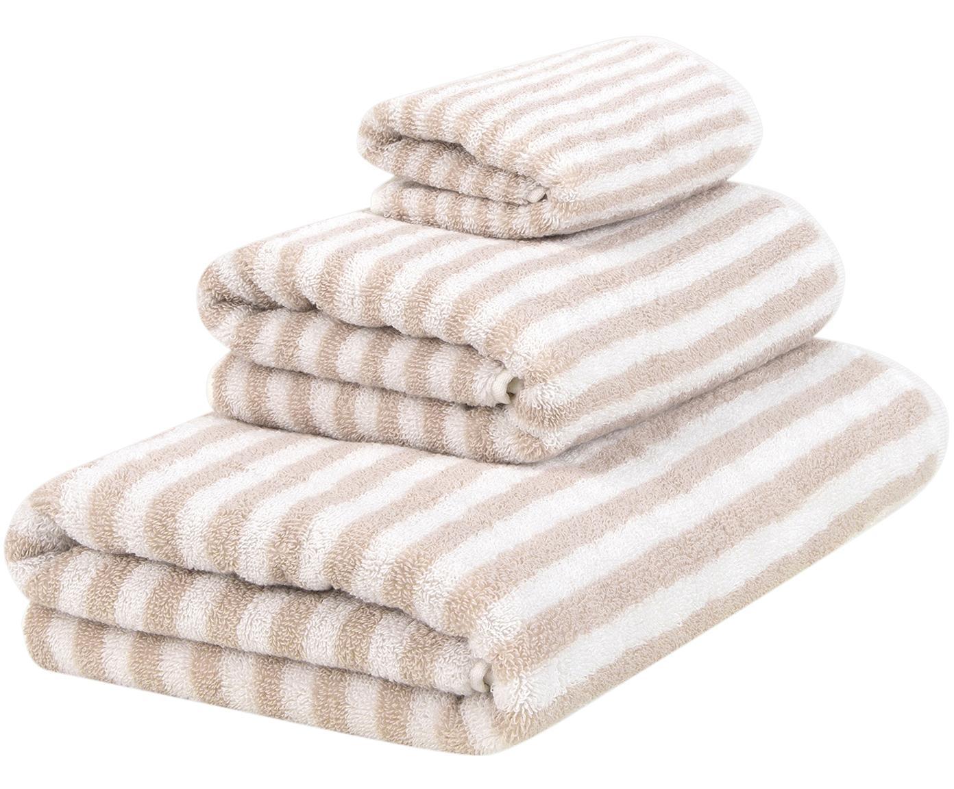 Handdoekenset Viola, 3-delig, 100% katoen, middelzware kwaliteit, 550 g/m², Zandkleurig, crèmewit, Verschillende formaten