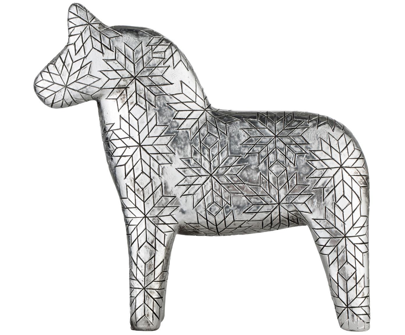 Decoratief object Serafina Horse, Polyresin, Zilverkleurig, 13 x 13 cm