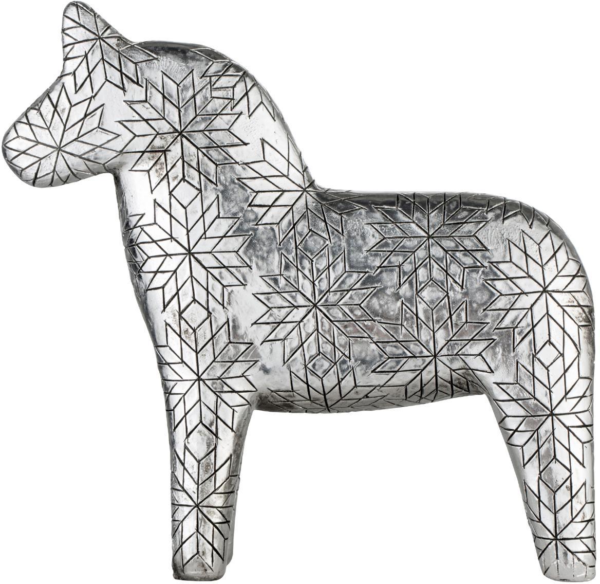 Deko-Objekt Serafina Horse, Polyresin, Silberfarben, 13 x 13 cm