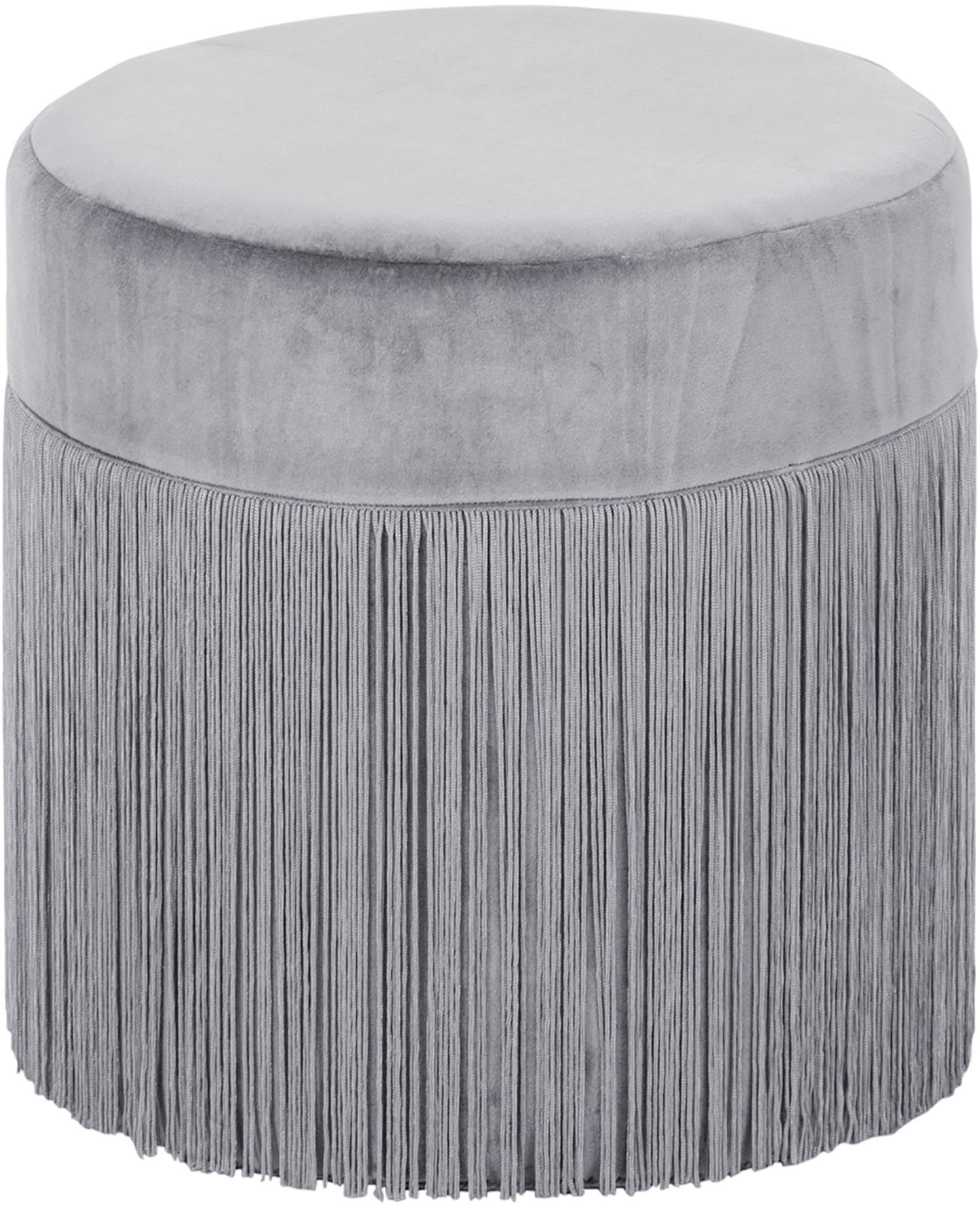 Fransen-Hocker Adriana, Bezug: Baumwollsamt, Fransen: Viskose, Unterseite: Baumwolle, Hellgrau, Ø 40 x H 40 cm