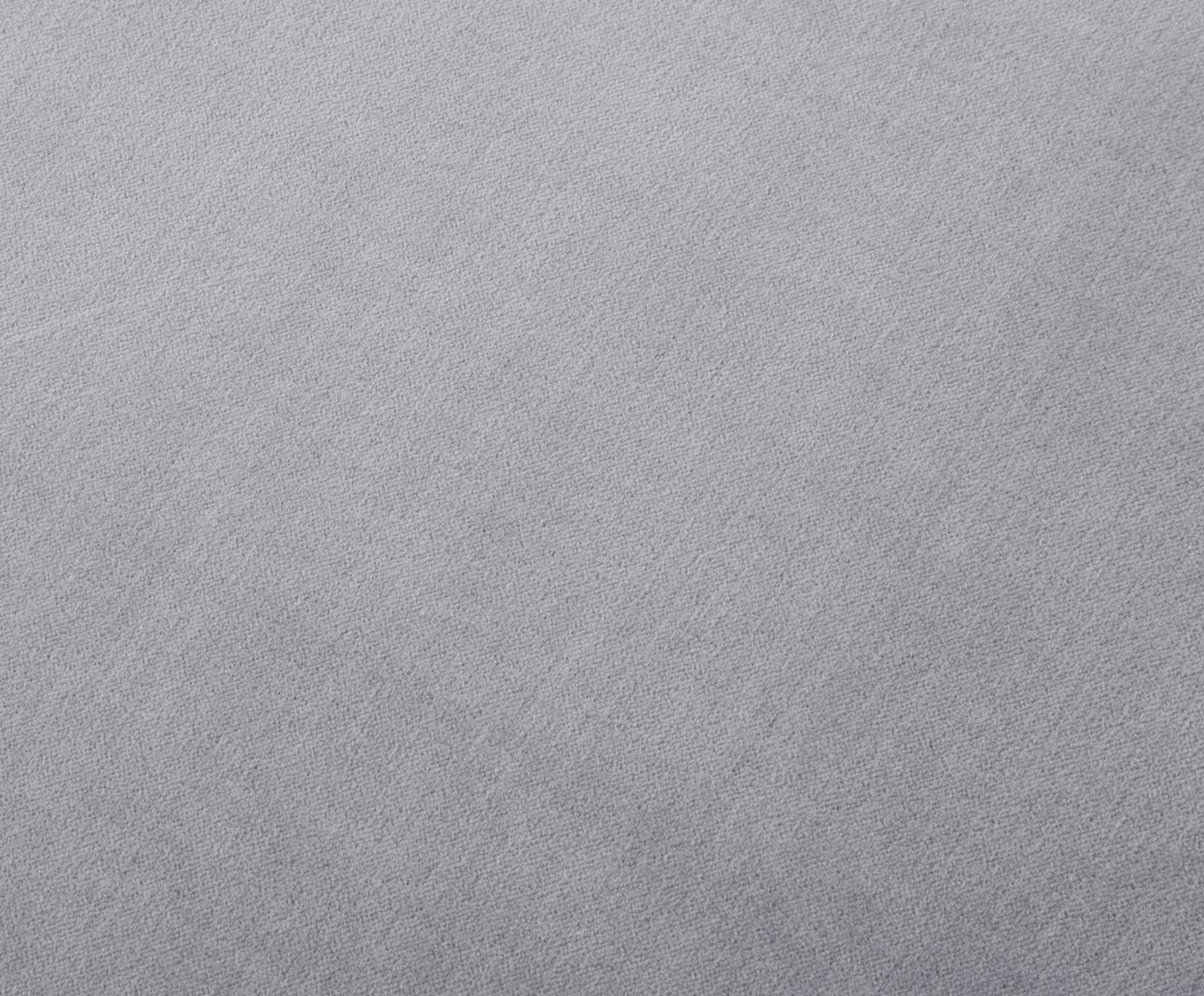 Poef met franjes Adriana, Bekleding: katoen fluweel, Franjes: viscose, Onderzijde: katoen, Lichtgrijs, ∅ 40 x H 40 cm