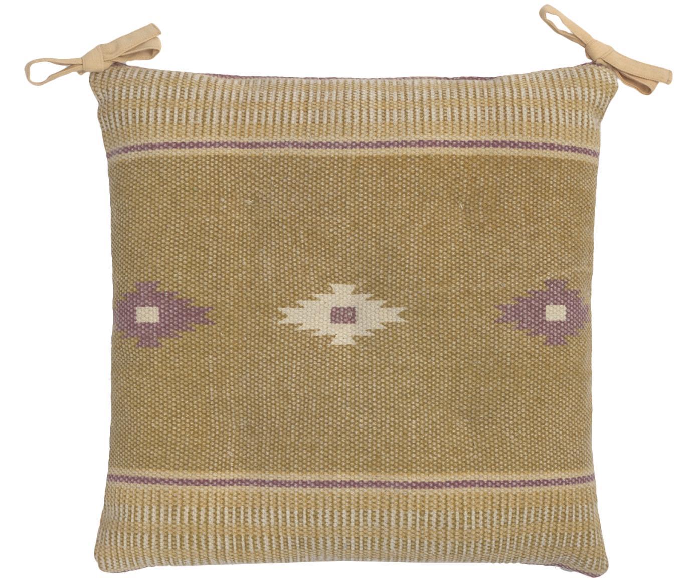 Nakładka na siedzisko etno Kamel, Musztardowy, beżowy, lila, niebieski, S 40 x D 40 cm
