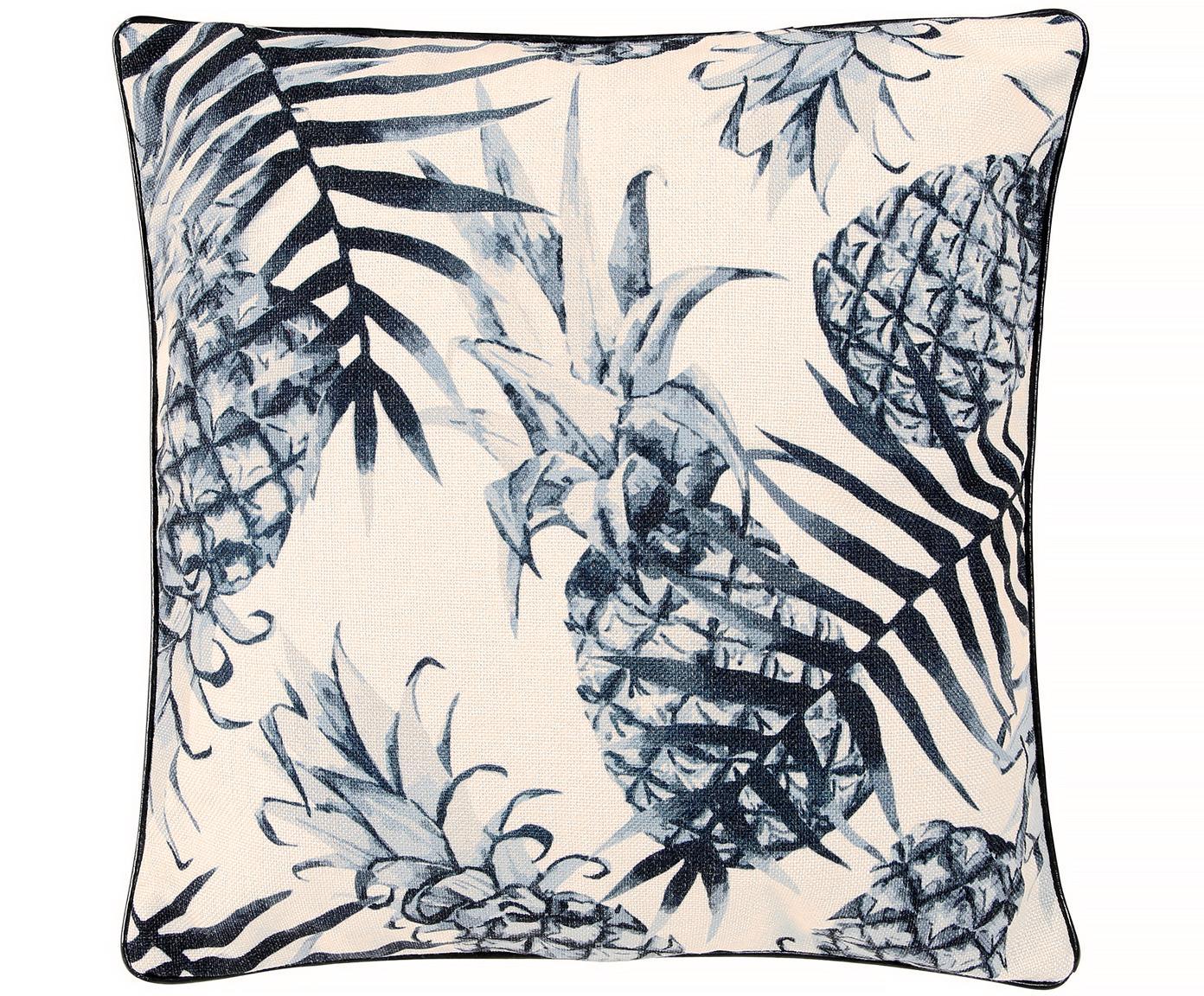 Federa arredo Ananas, Fronte: grigio blu, beige chiaro, nero Retro: beige chiaro Bordatura: nero, Larg. 45 x Lung. 45 cm