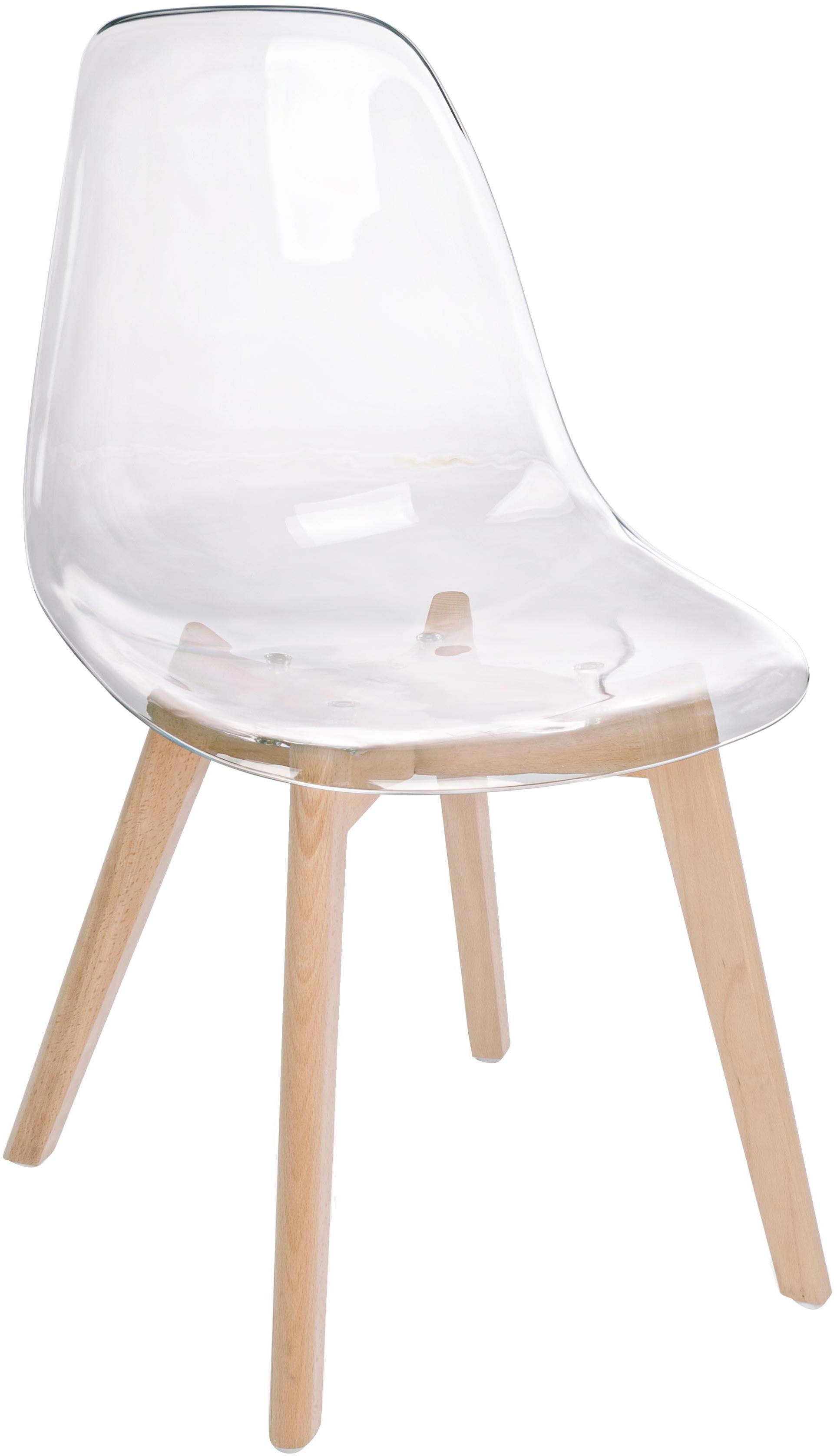 Sillas Easy, 2uds., Asiento: plástico, Patas: madera de haya, Transparente, madera de haya, An 51 x F 47 cm