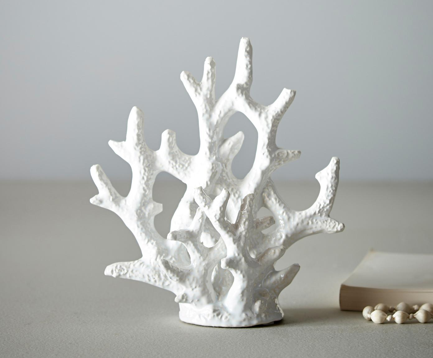Handgefertigtes Deko-Objekt Corallo, Keramik, glasiert, Weiß, 21 x 22 cm
