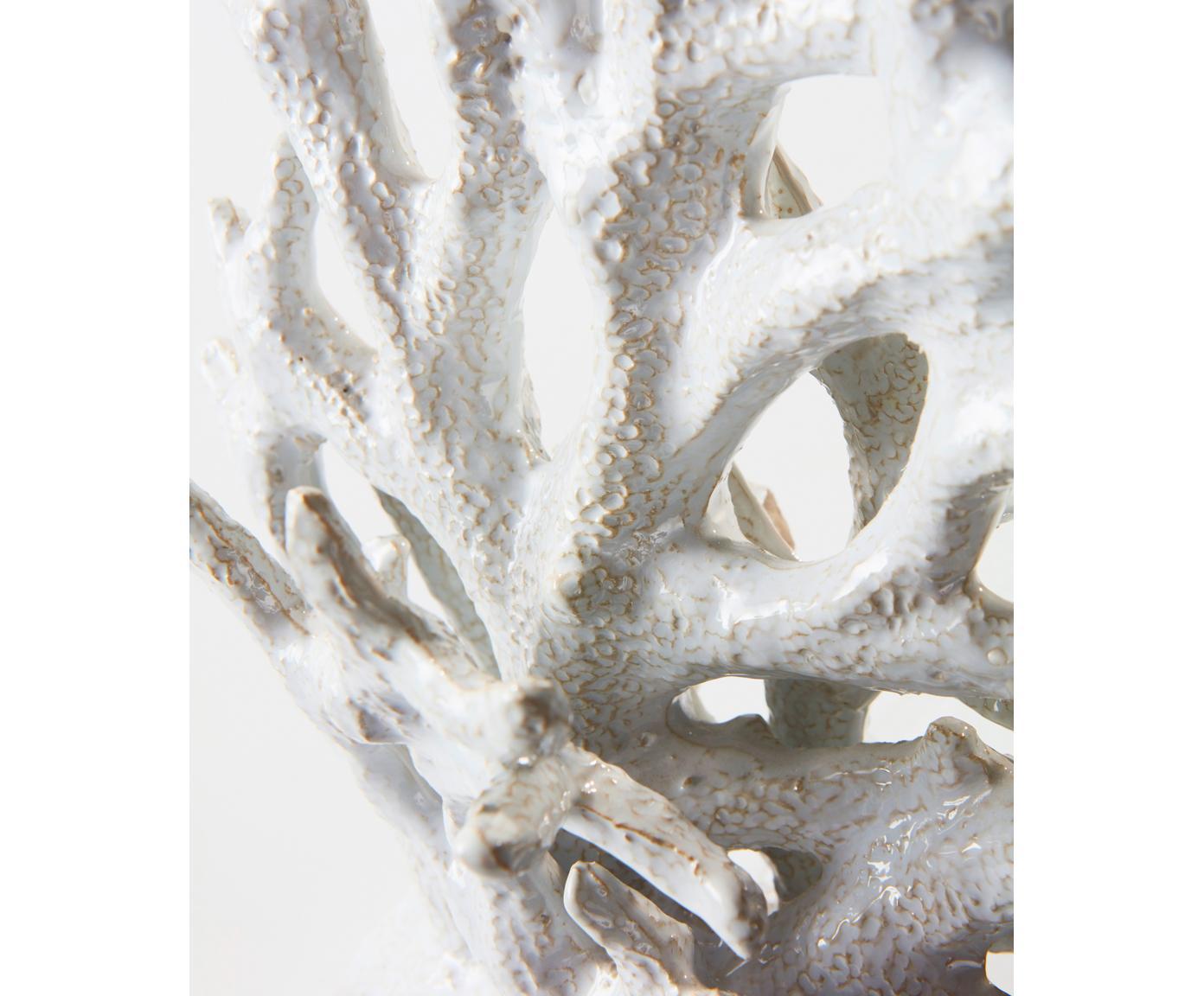 Ręcznie wykonana dekoracja Corallo, Ceramika glazurowana, Biały, S 21 x W 22 cm