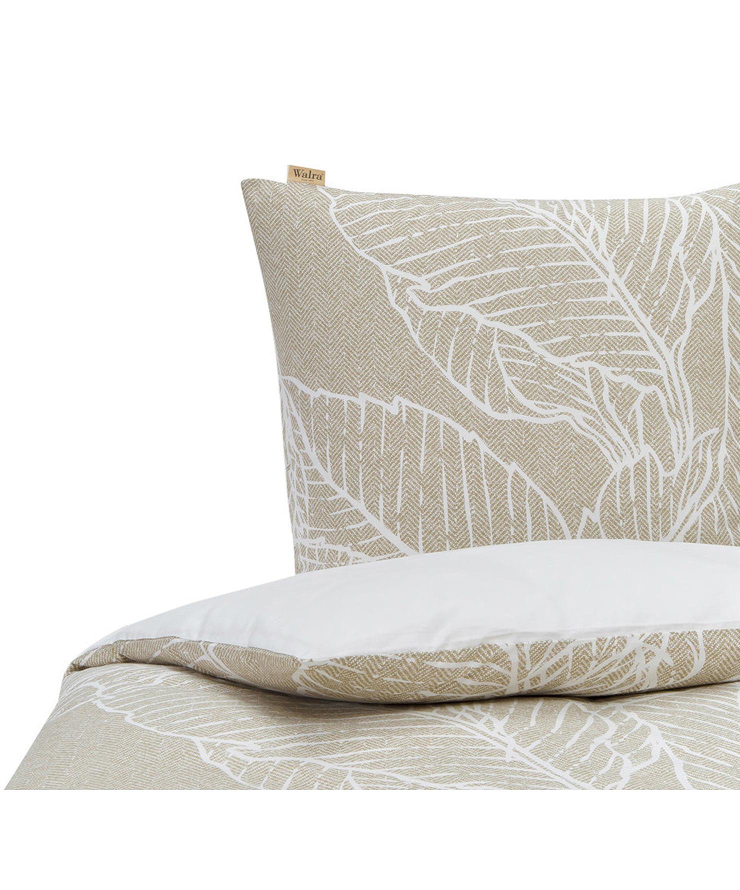 Baumwoll-Bettwäsche Leaves & Trees, Webart: Renforcé Renforcé besteht, Beige, Weiß, 155 x 220 cm + 1 Kissen 80 x 80 cm