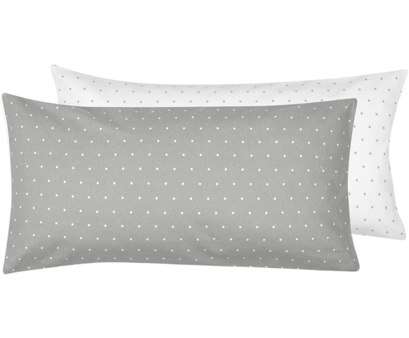 Dwustronna poszewka na poduszkę z flaneli Elisa, 2 szt., Szary, biały, S 40 x D 80 cm
