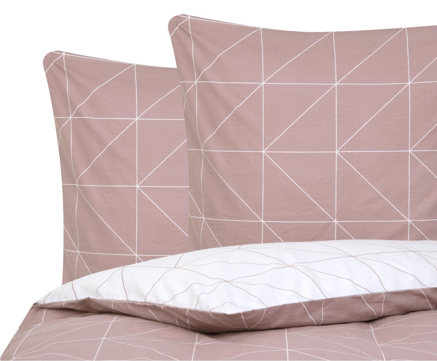 Baumwoll-Wendebettwäsche Marla mit grafischem Muster, Webart: Renforcé Fadendichte 144 , Mauve, Weiß, 200 x 200 cm + 2 Kissen 80 x 80 cm