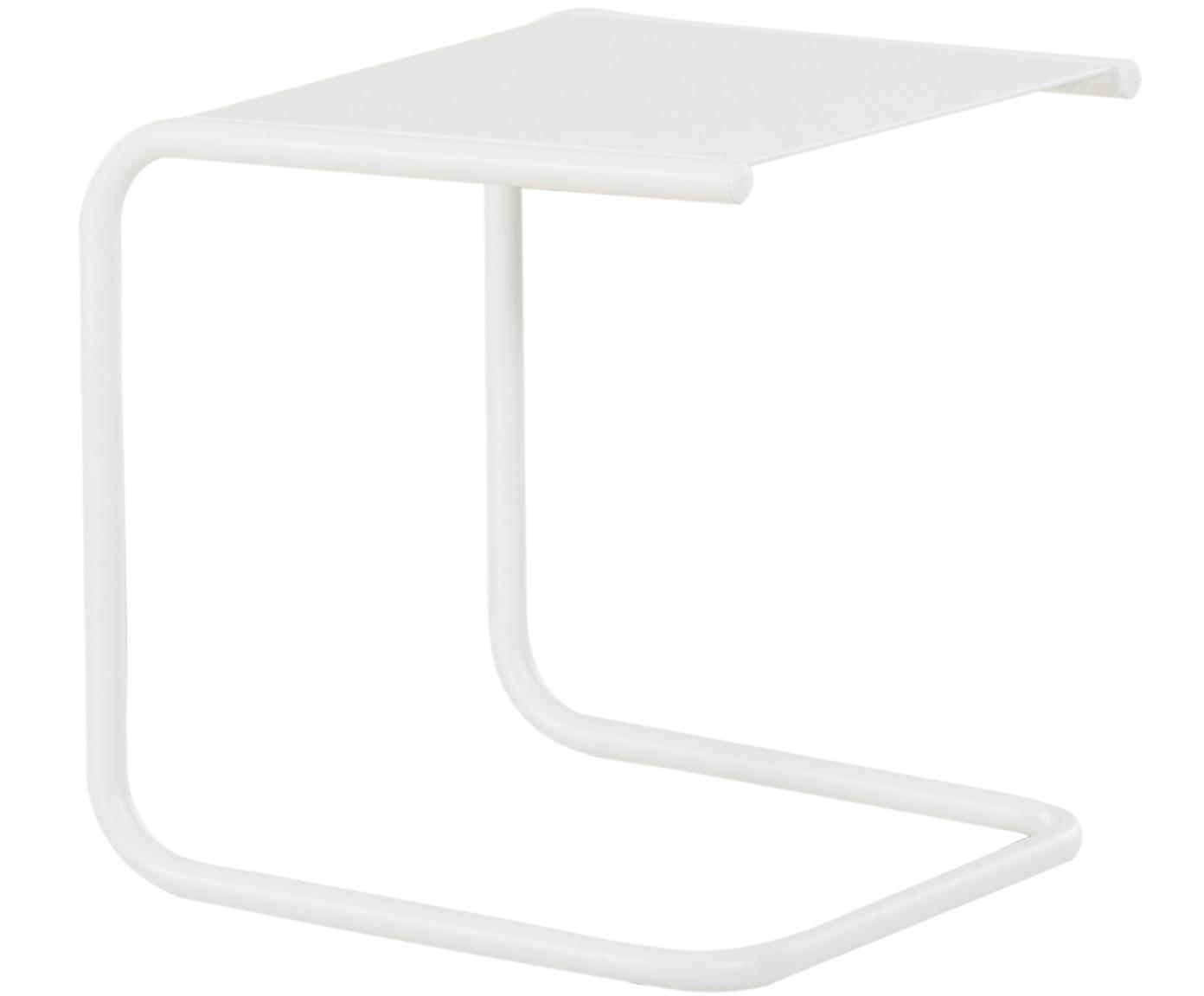 Outdoor bijzettafel Club van metaal, Tafelblad: gepoedercoat metaal, Frame: gepoedercoat aluminium, Wit, B 40 x D 40 cm