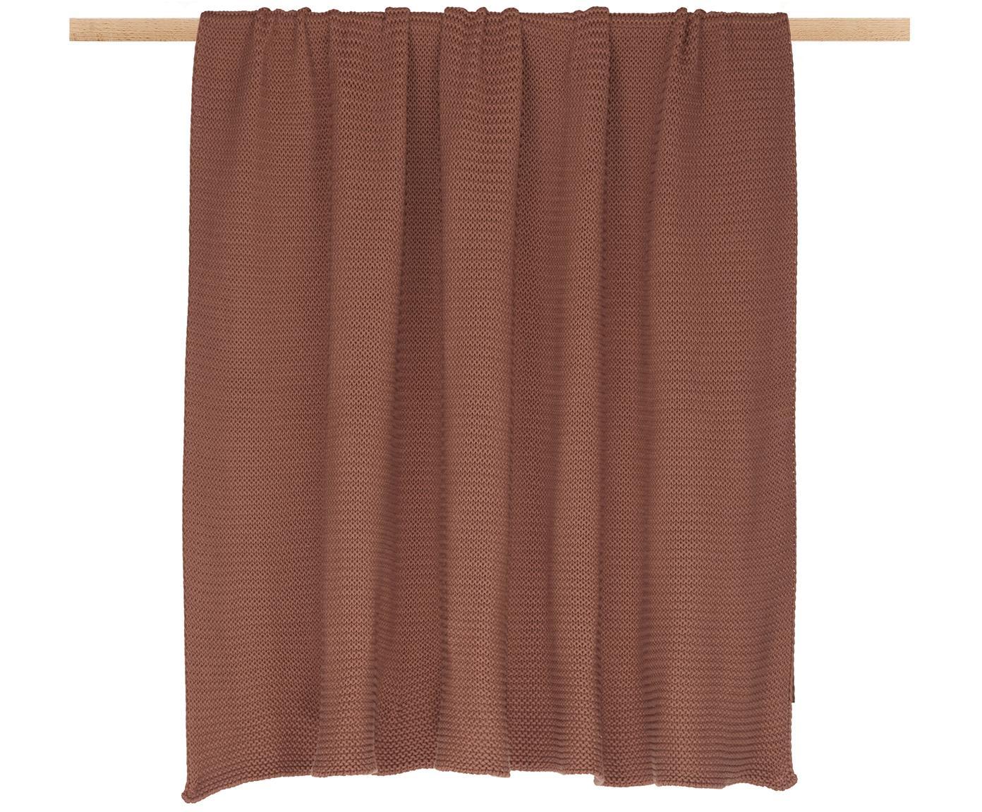 Plaid fatto a maglia Adalyn, 100% cotone, Rosso ruggine, Larg. 150 x Lung. 200 cm