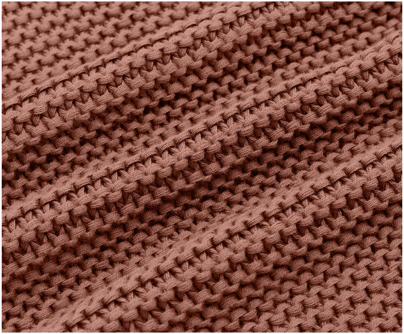 Gebreide plaid Adalyn, 100% katoen, Roestrood, 150 x 200 cm