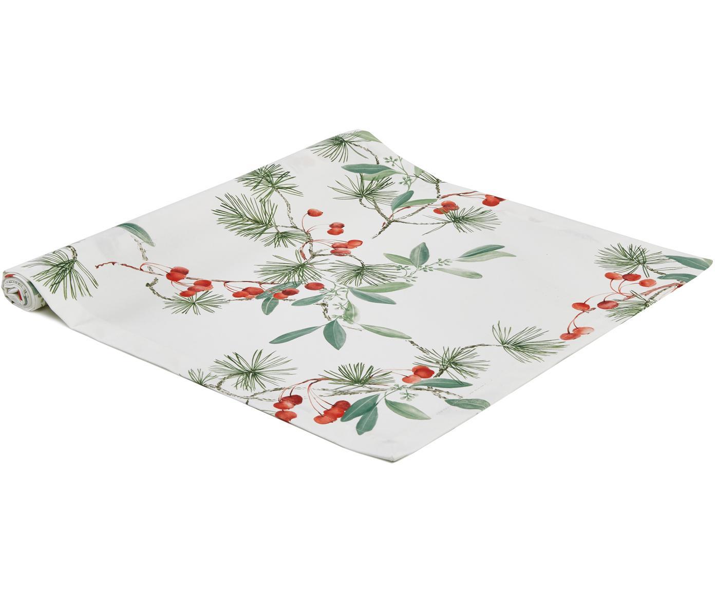 Runner da tavolo Myrta, Cotone, Bianco, verde, rosso, Larg. 50 x Lung. 140 cm