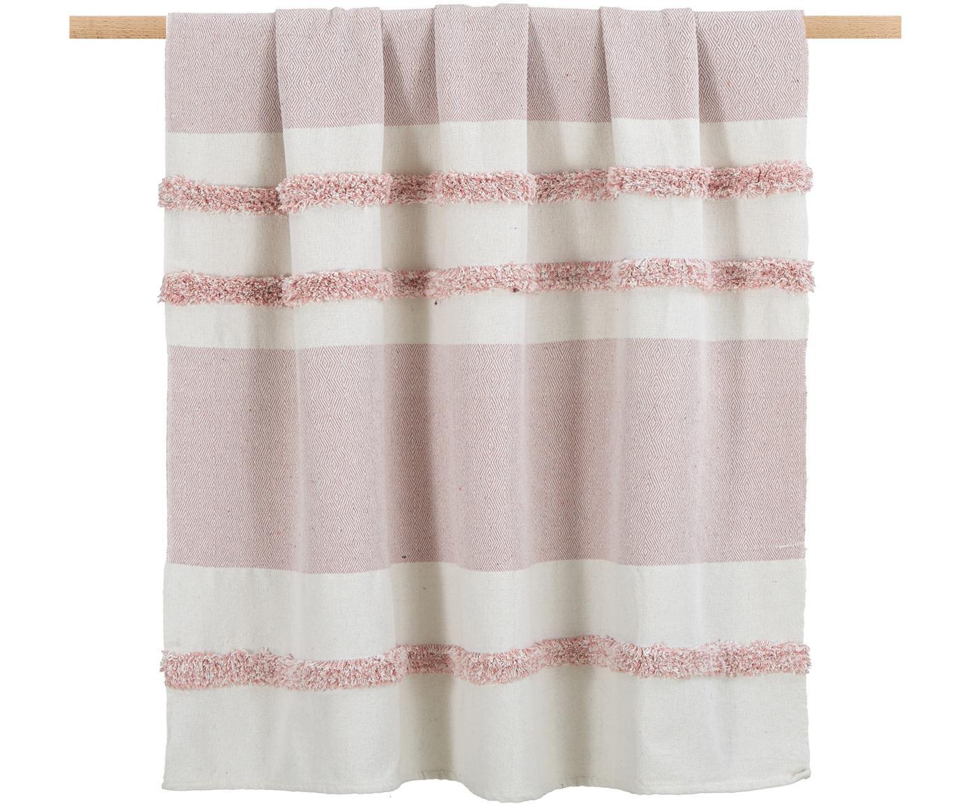 Plaid Pimperlet mit Hoch-Tief-Muster, 100% Baumwolle, Gebrochenes Weiß, Rosa, 125 x 150 cm