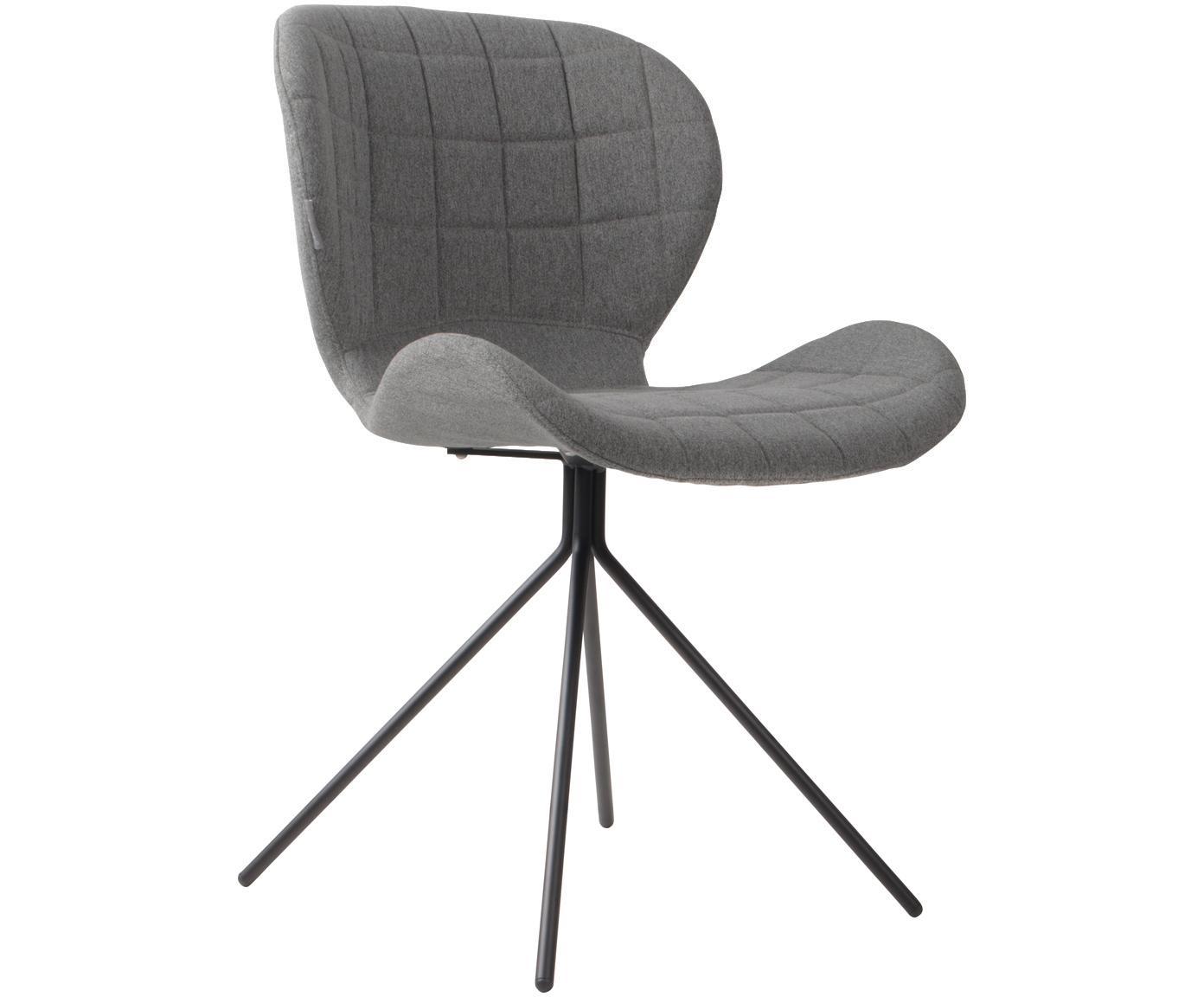 Krzesło tapicerowane OMG, Tapicerka: poliester 50000 cykli w , Stelaż: stal, malowana proszkowo, Korpus: płyta wiórowa, Jasnoszary, S 51 x W 80 cm