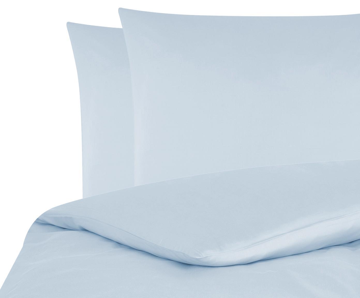Baumwollsatin-Bettwäsche Comfort in Hellblau, Webart: Satin Fadendichte 250 TC,, Hellblau, 200 x 200 cm + 2 Kissen 80 x 80 cm