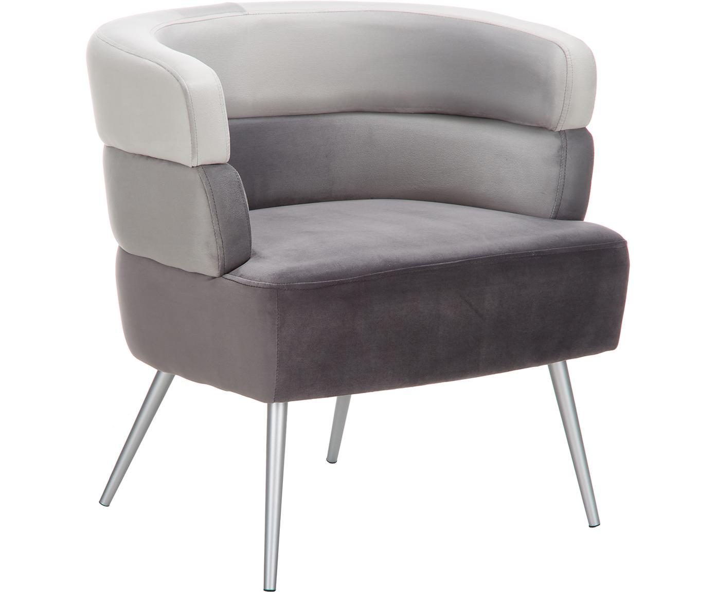 Fotel z aksamitu Sandwich, Tapicerka: aksamit poliestrowy, Nogi: metal powlekany, Aksamitny szary, S 65 x G 64 cm
