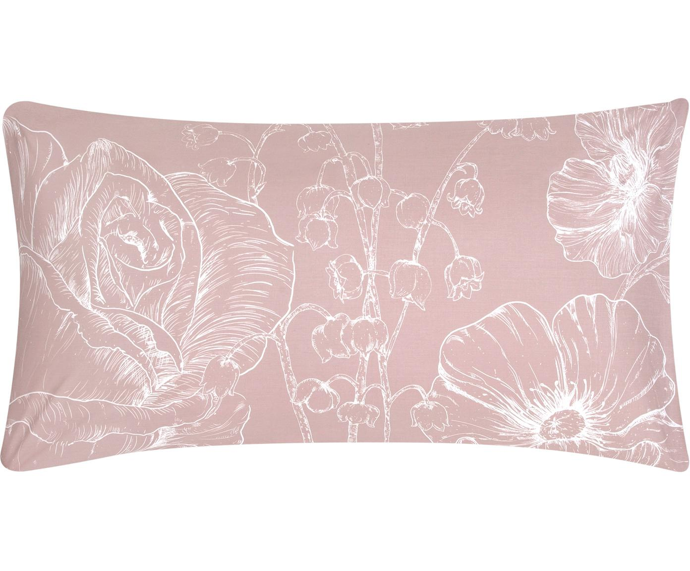 Poszewka na poduszkę z perkalu Keno, 2 szt., Brudny różowy, biały, S 40 x D 80 cm