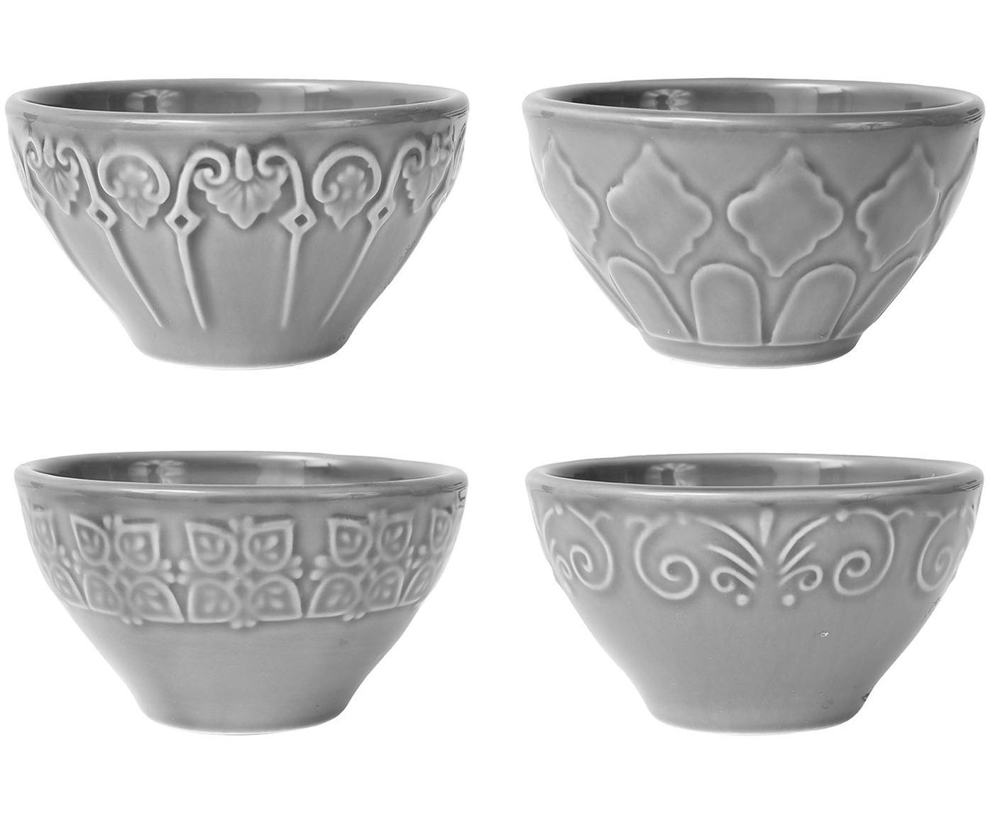 Steingut-Schälchen Tartine in Grau, 4 Stück, Steingut, Grau, Ø 14 x H 10 cm