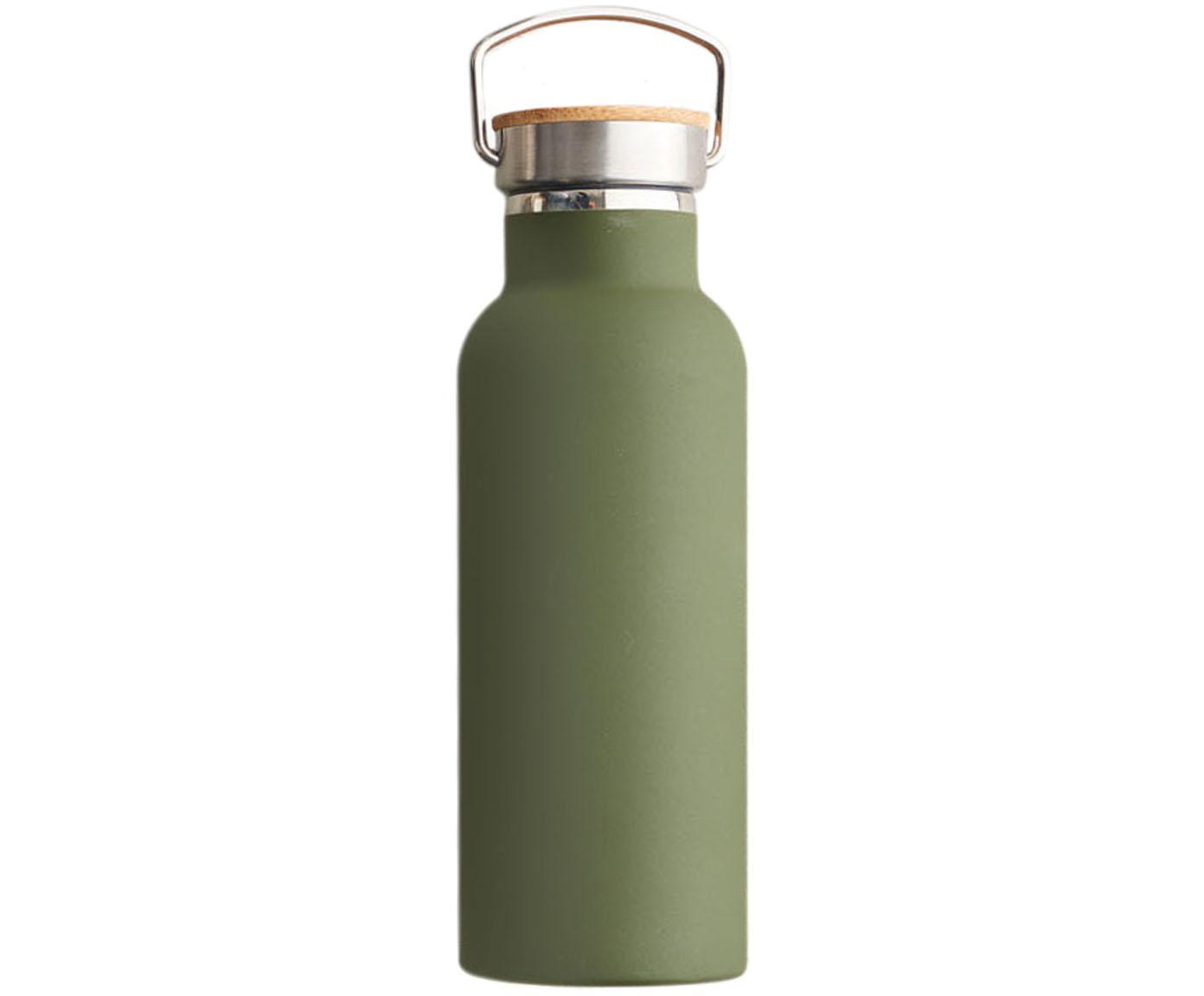 Bidon termiczny Miles, Oliwkowy zielony, stal, Ø 7 x W 22 cm