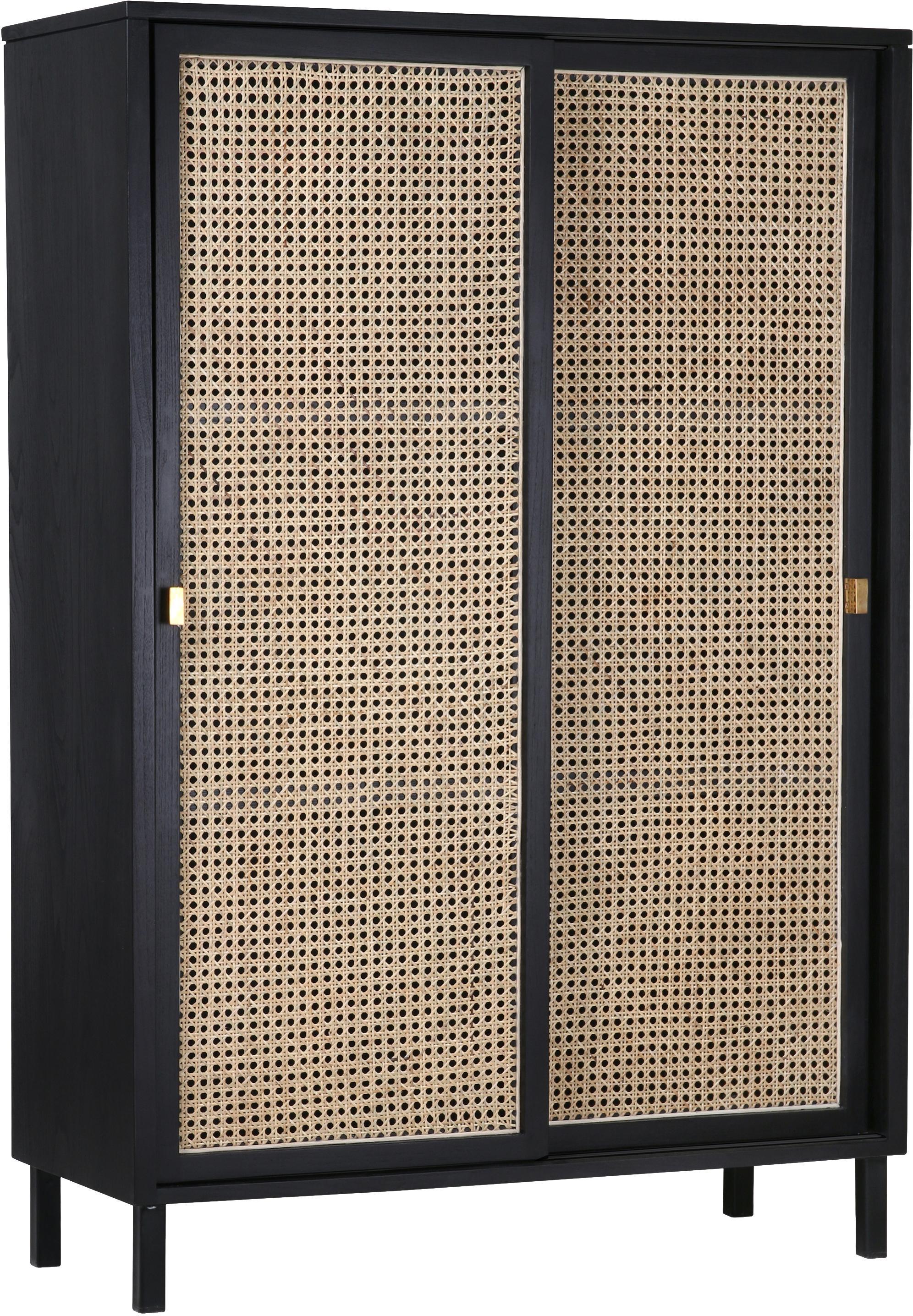 Schrank Retro mit Wiener Geflecht, Korpus: Sungkai-Holz, Füße: Metall, beschichtet, Griffe: Messing, Beige, Schwarz, 95 x 140 cm