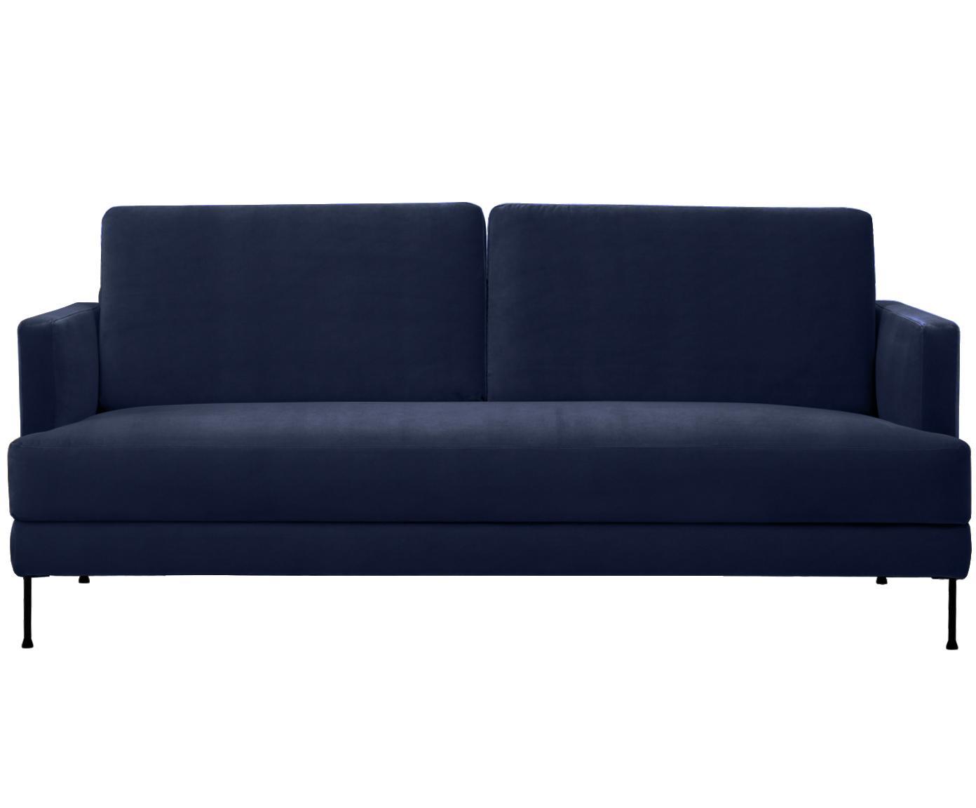 Fluwelen bank Fluente (3-zits), Bekleding: fluweel (hoogwaardig poly, Frame: massief grenenhout, Poten: gelakt metaal, Donkerblauw, B 197 x D 83 cm