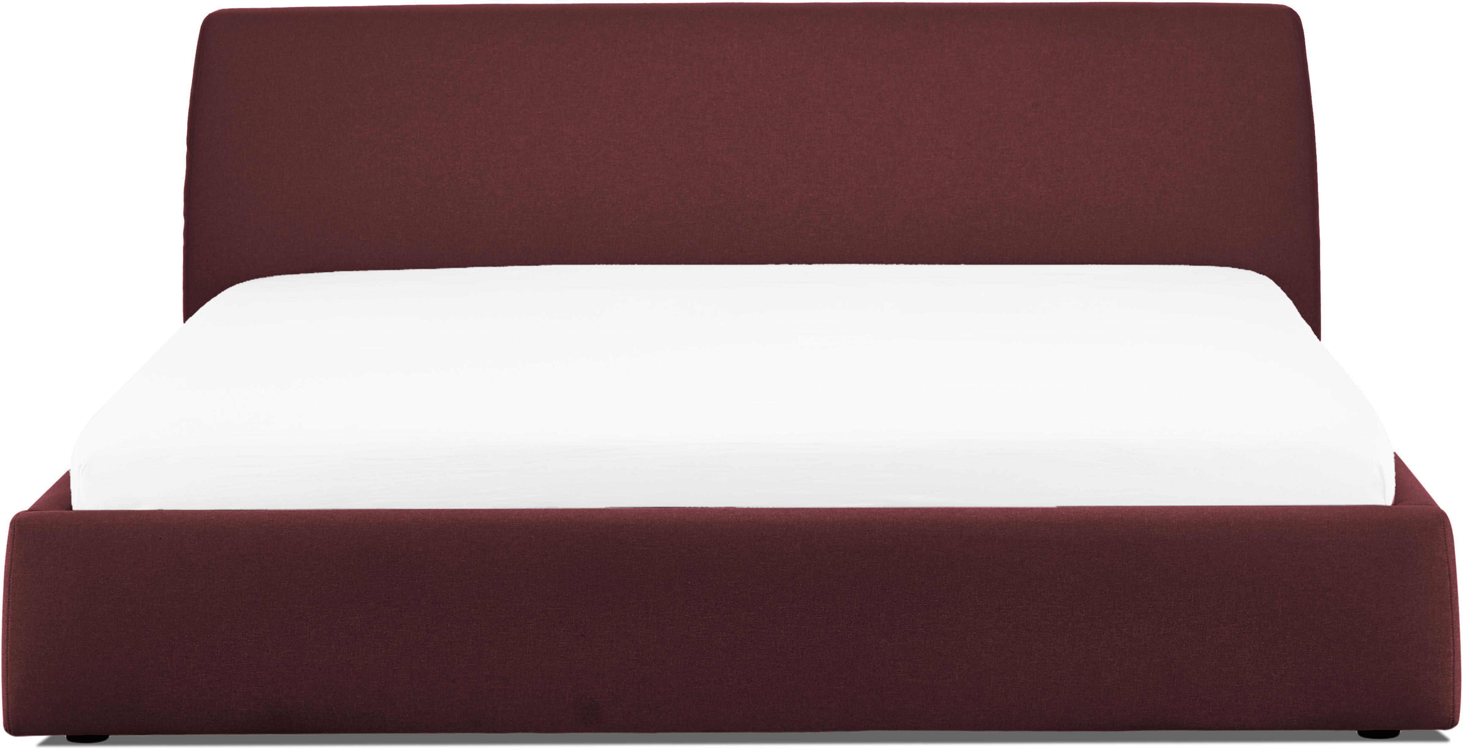 Letto matrimoniale imbottito Cloud, Rivestimento: Poliestere (tessuto strut, Borgogna, Larg. 180 x Lung. 200 cm