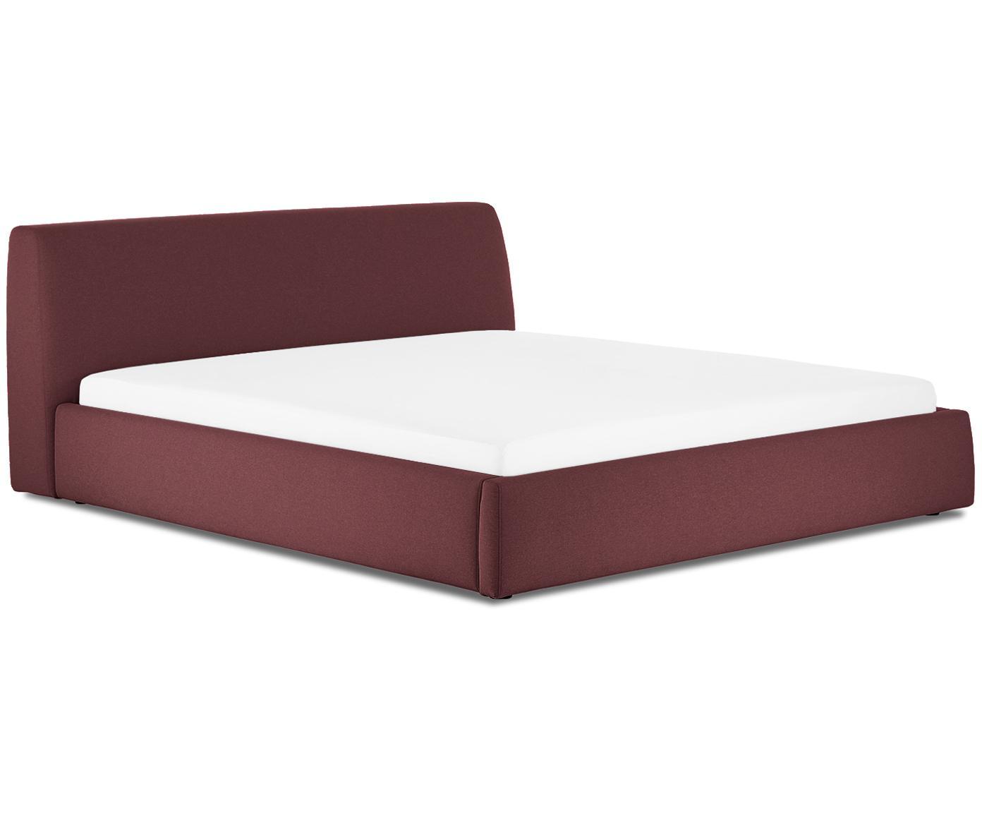 Gestoffeerd bed Cloud, Frame: massief grenenhout, Bekleding: polyester (structuurmater, Bordeauxrood, 160 x 200 cm