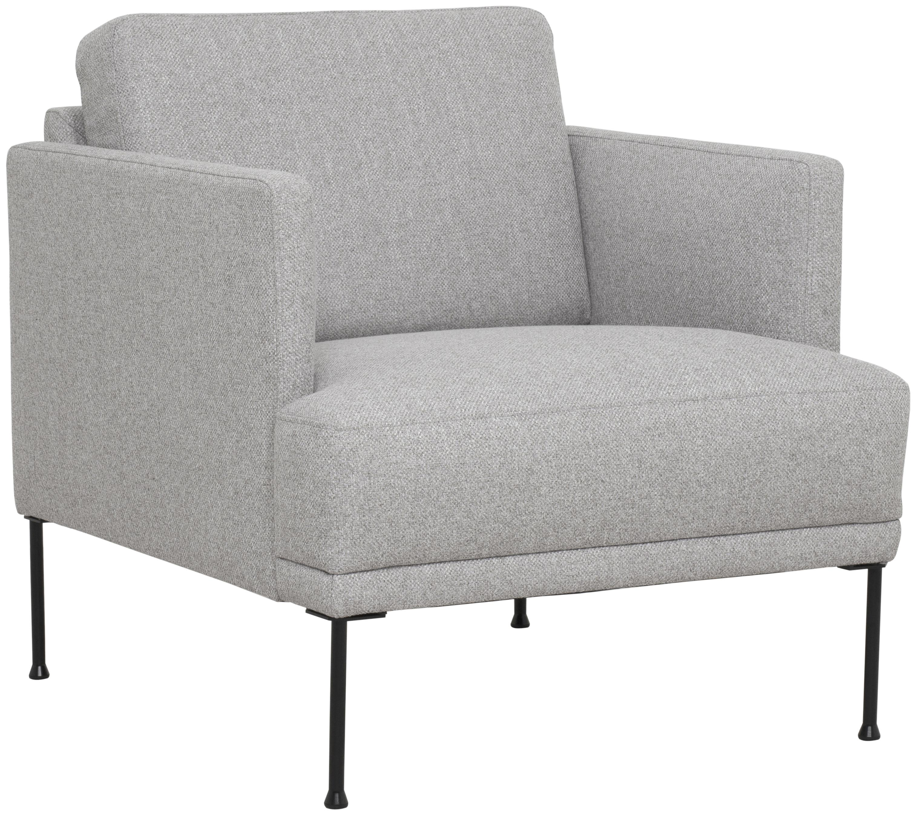 Sessel Fluente, Bezug: 80% Polyester, 20% Ramie , Gestell: Massives Kiefernholz, Füße: Metall, pulverbeschichtet, Webstoff Hellgrau, B 74 x T 85 cm
