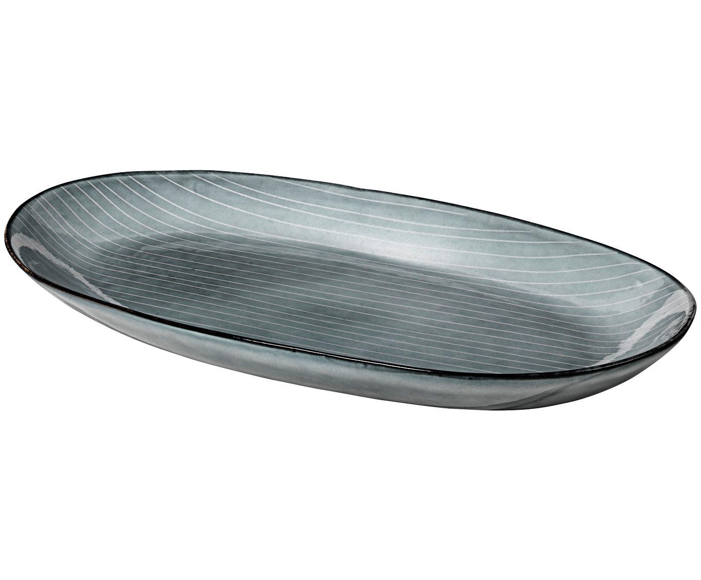 Handgemachte Servierplatte Nordic Sea, Steingut, Grau- und Blautöne, 17 x 30 cm